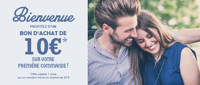 bienvenue profitez d'un bon d'achat 10€ sur votre première commande ! - offre valable 1 mois sur un montant minimum d'achat de 50€
