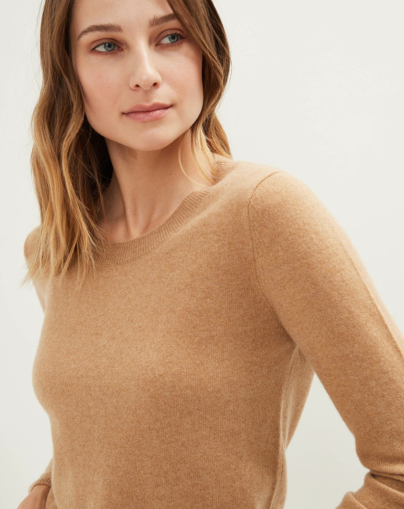 Pull 100% Cachemire col rond camel chiné