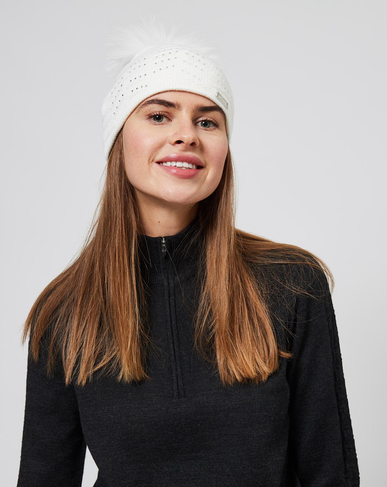 Bonnet en Laine mélangée & strass Pompon fourrure véritable blanc