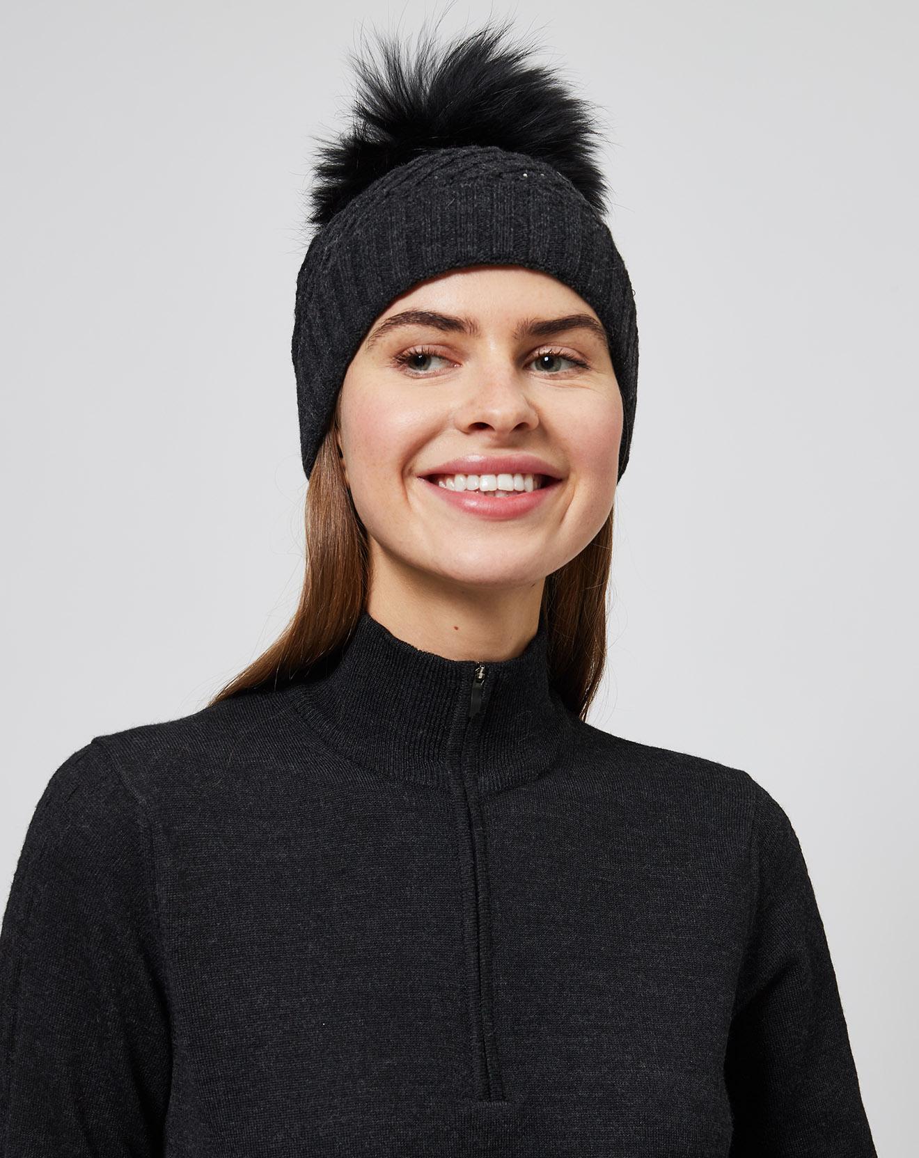 Bonnet en Laine mélangée & strass Pompon fourrure véritable anthracite