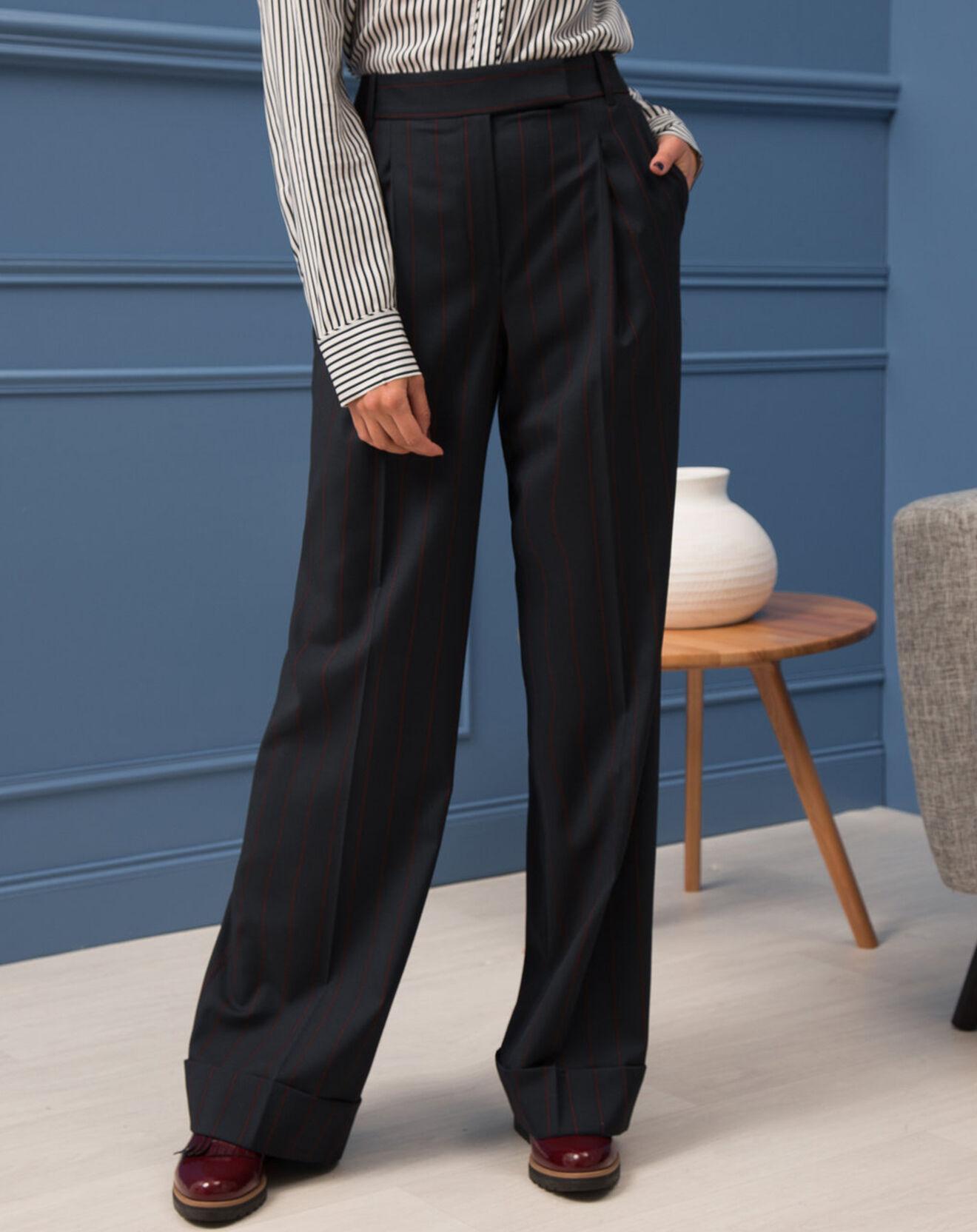 Pantalon Anthony rayé marine