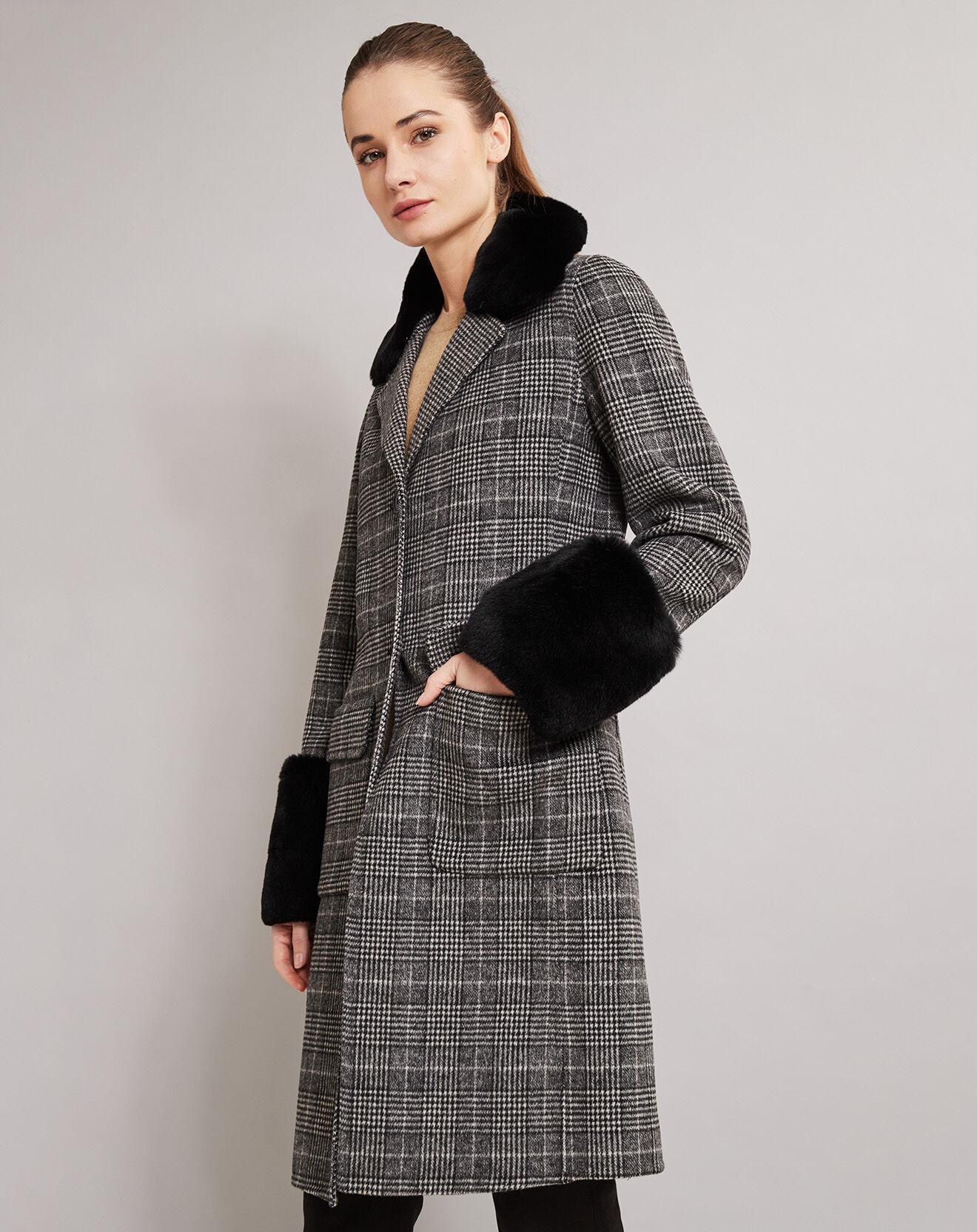 Manteau en Laine mélangée Fourrure Lapin carré gris/noir