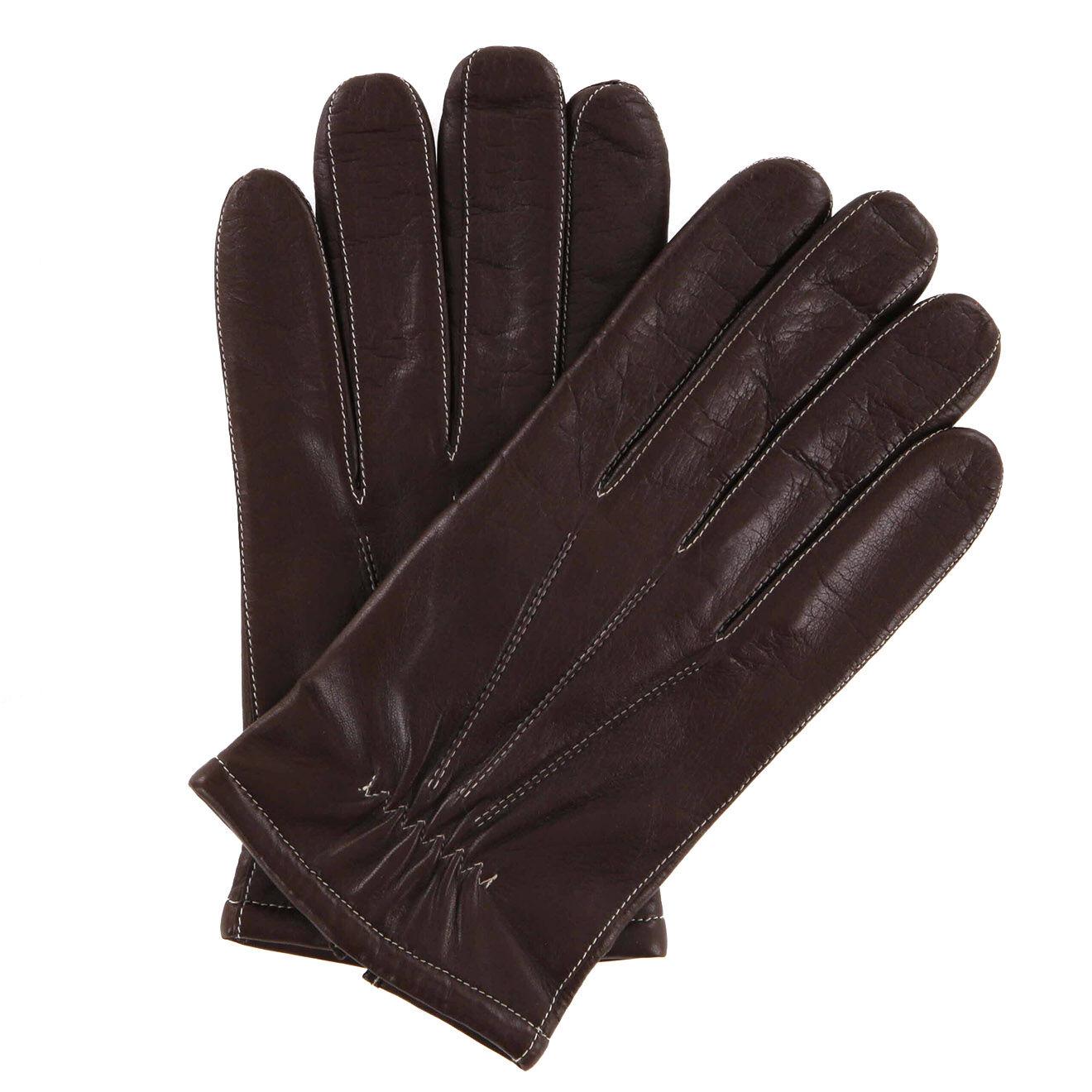 Gants en Cuir d'Agneau doublure textile marron/écru
