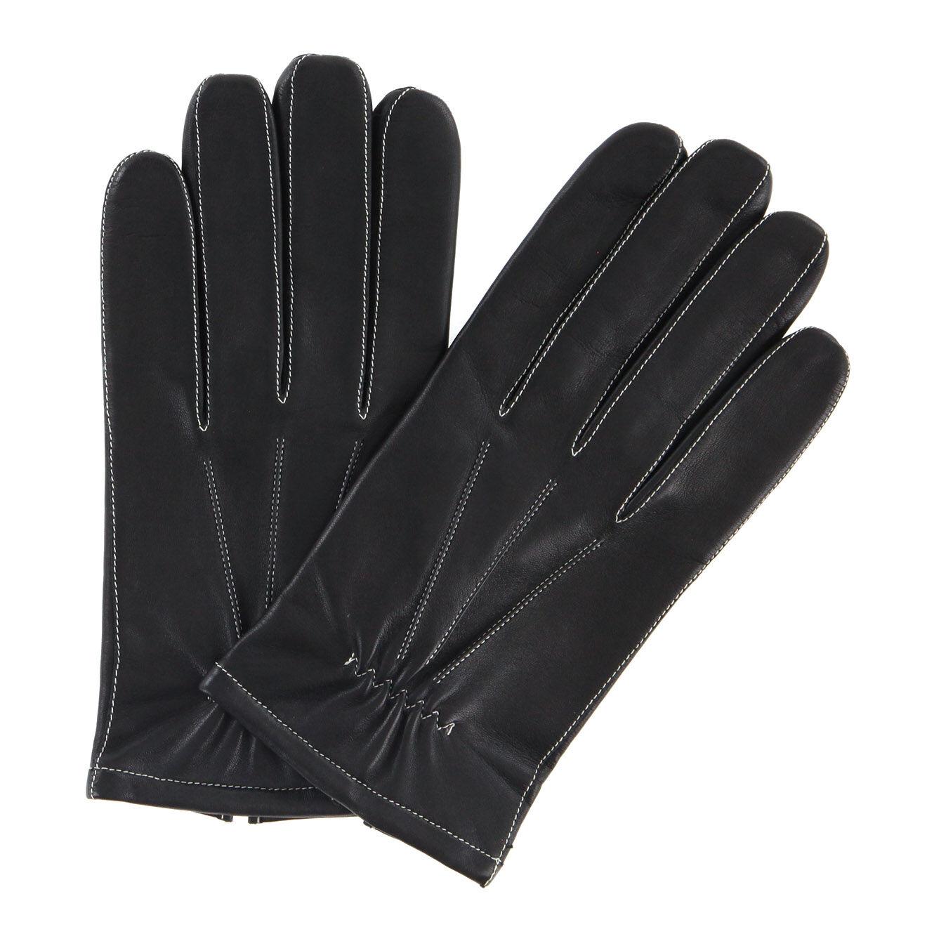 Gants en Cuir d'Agneau doublure textile noir/écru