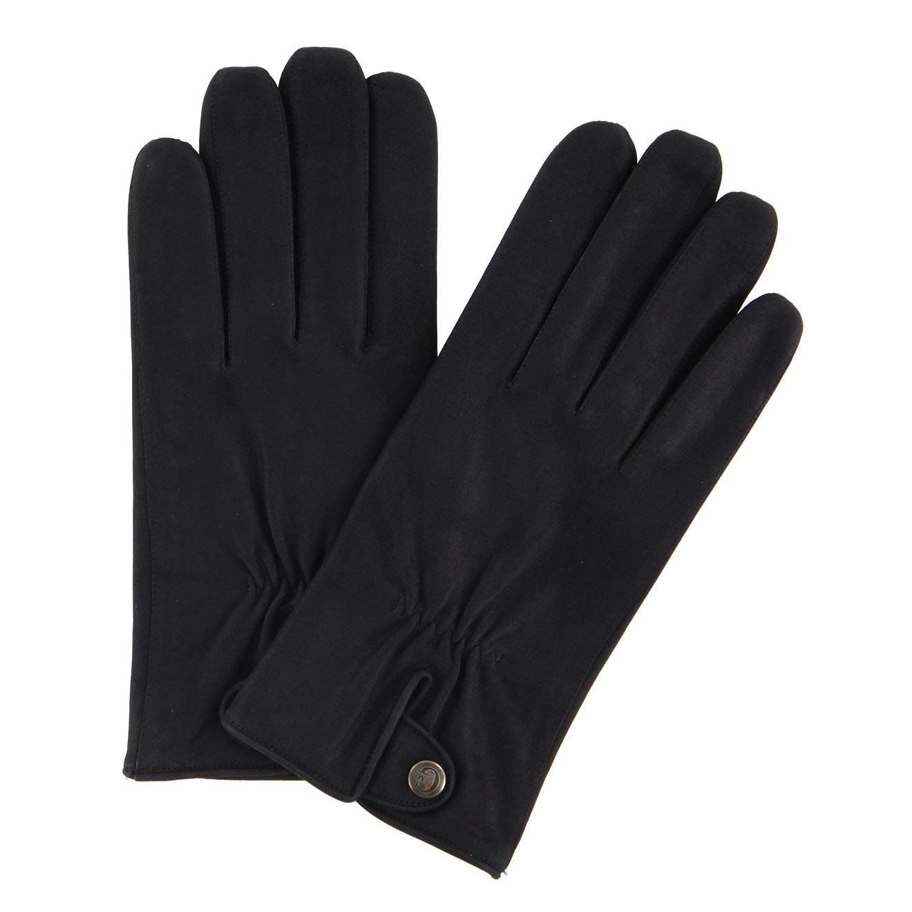 Gants en Velours de Cuir d'Agneau doublure textile noirs