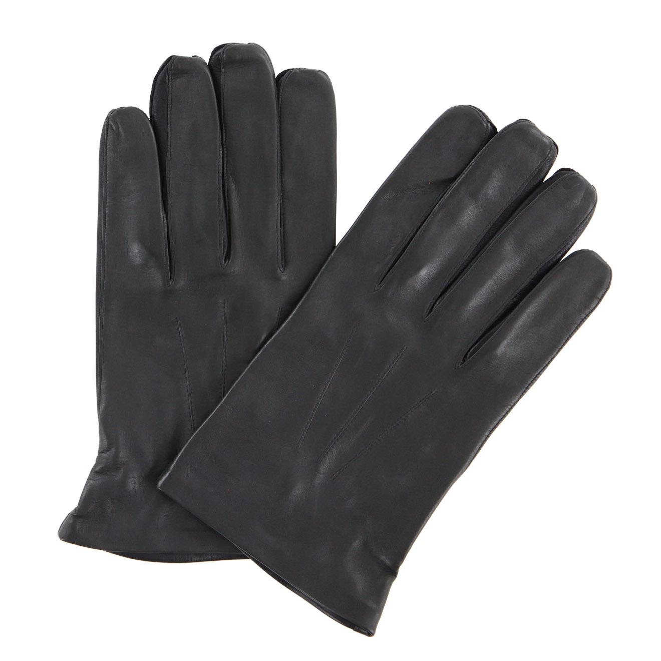 Gants en Cuir d'Agneau doublure Soie noir/plomb