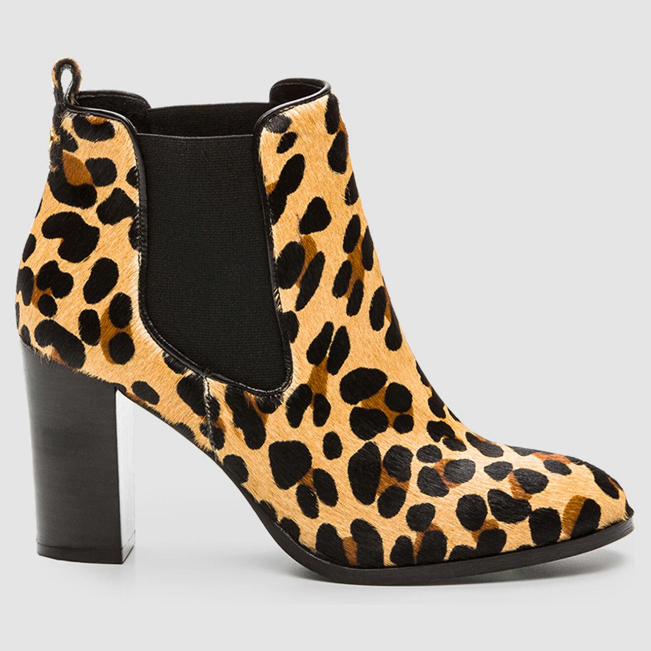 Chelsea Boots en Poulain Veleo léopard beige/marron - Talon 8 cm - Cosmoparis - Modalova