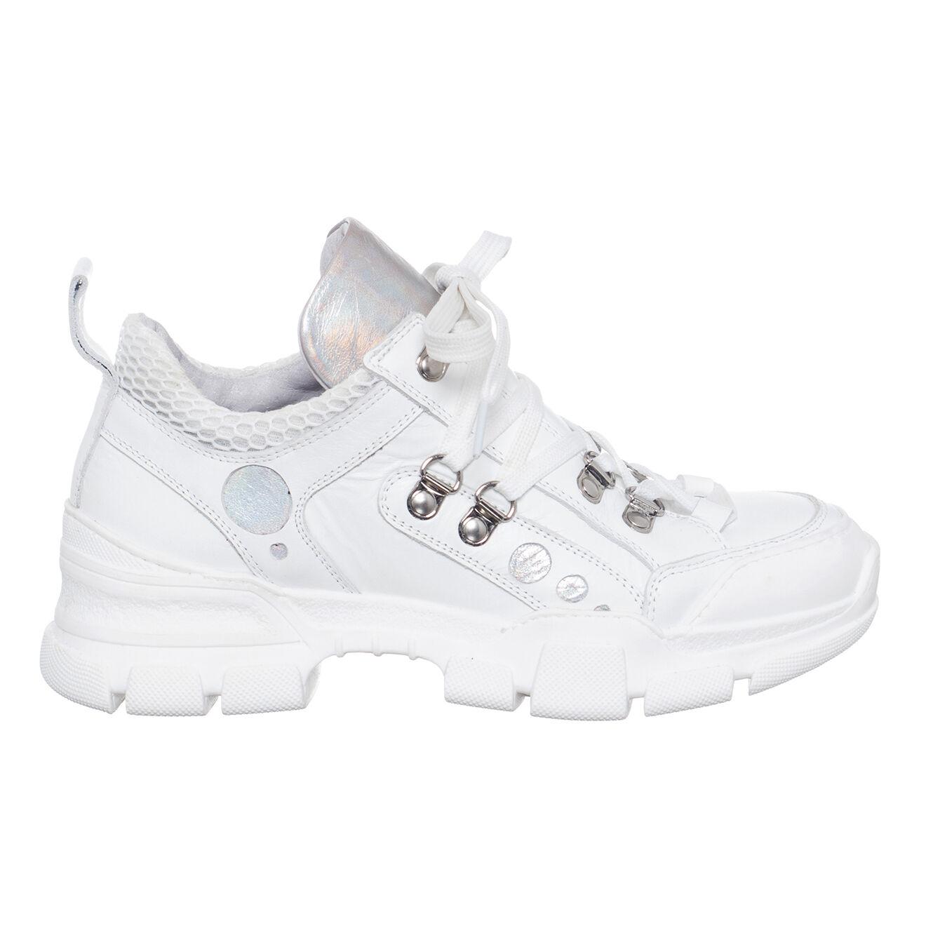 Sneakers en Cuir & Toile Vitello blanches - Loretta Pettinari - Modalova