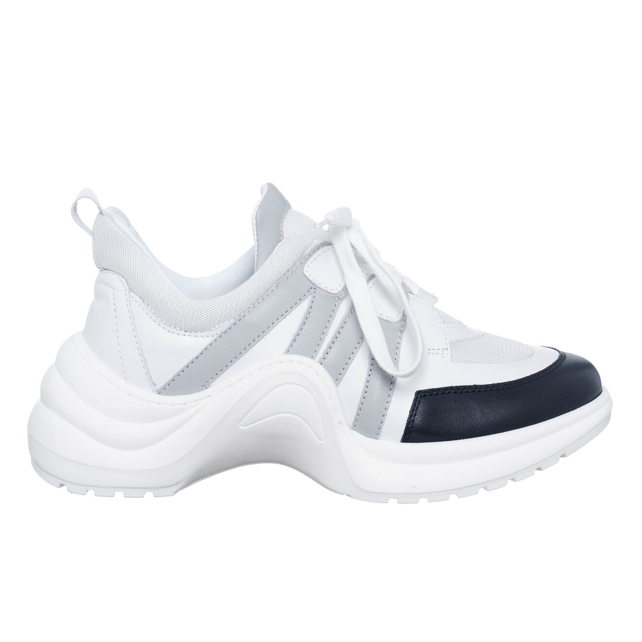 Sneakers en Cuir Bianca blanc/noir - Talon 5 cm - Loretta Pettinari - Modalova