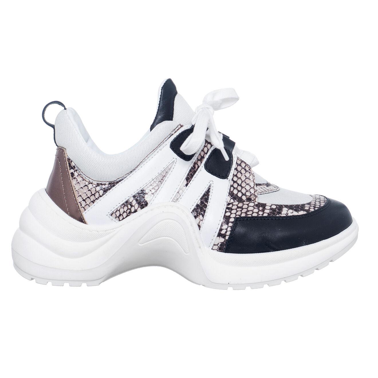 Sneakers en Cuir Bianca blanc/noir/python - Talon 5 cm - Loretta Pettinari - Modalova