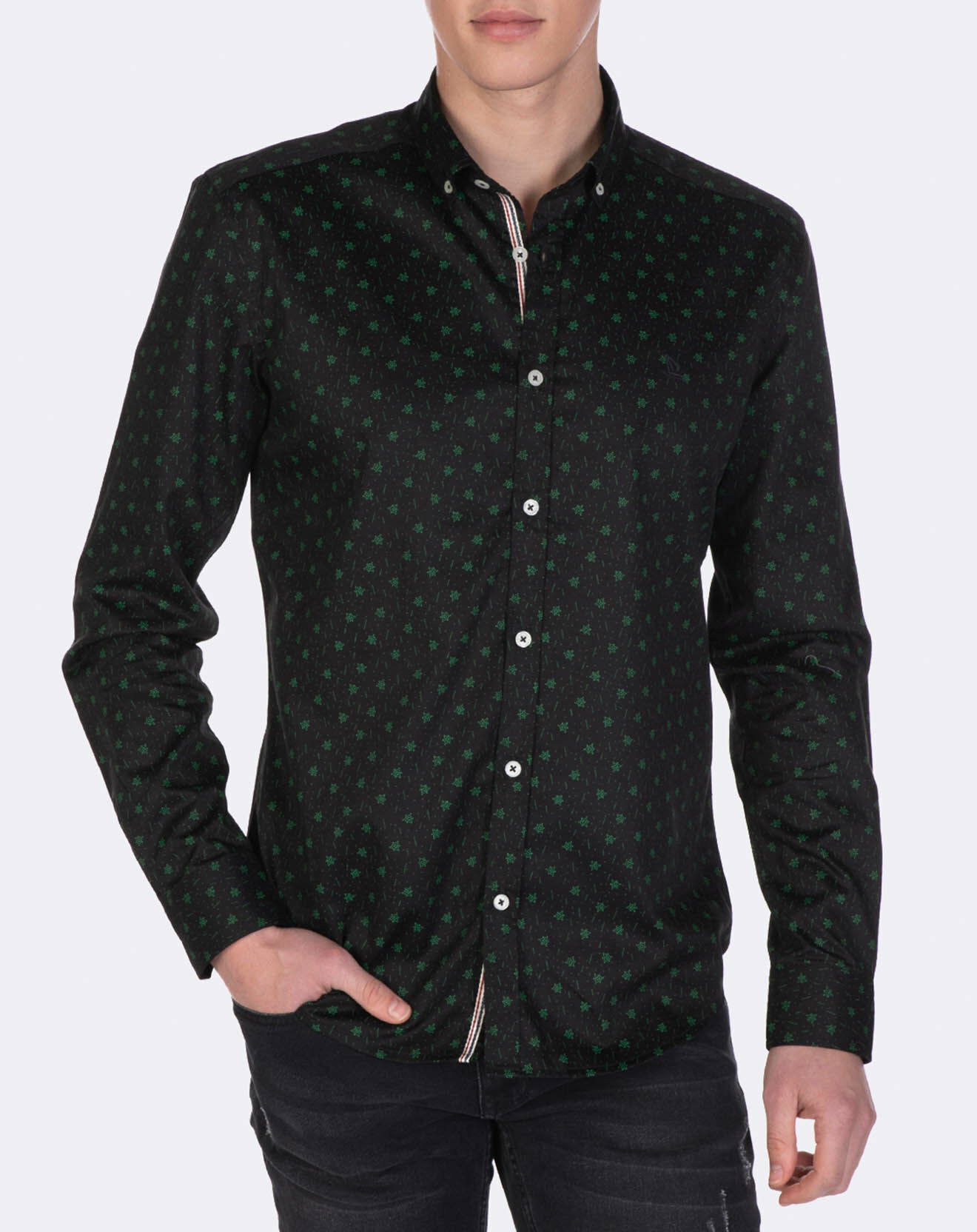 Chemise à petits imprimés vert/noir