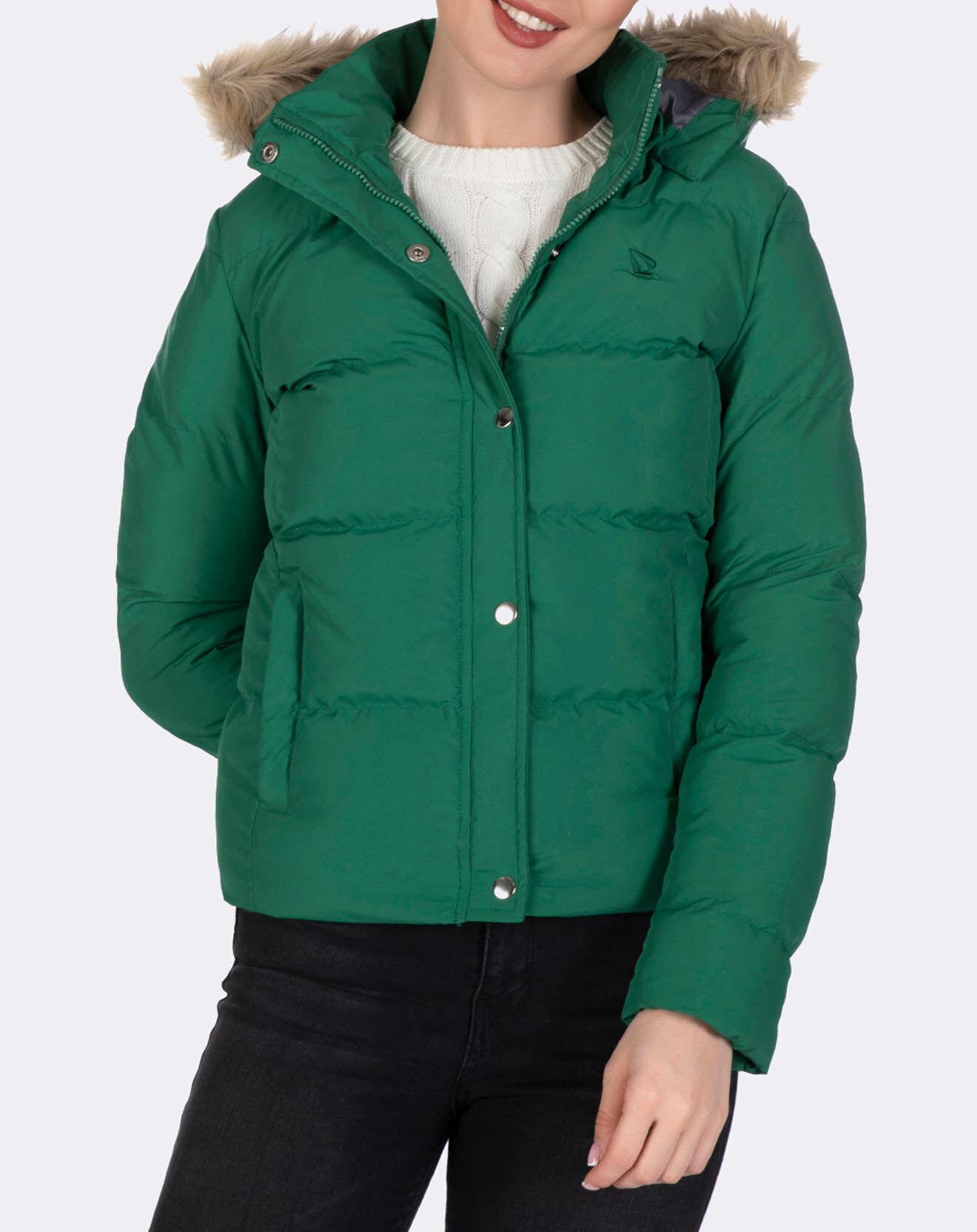 Doudoune courte à capuche verte