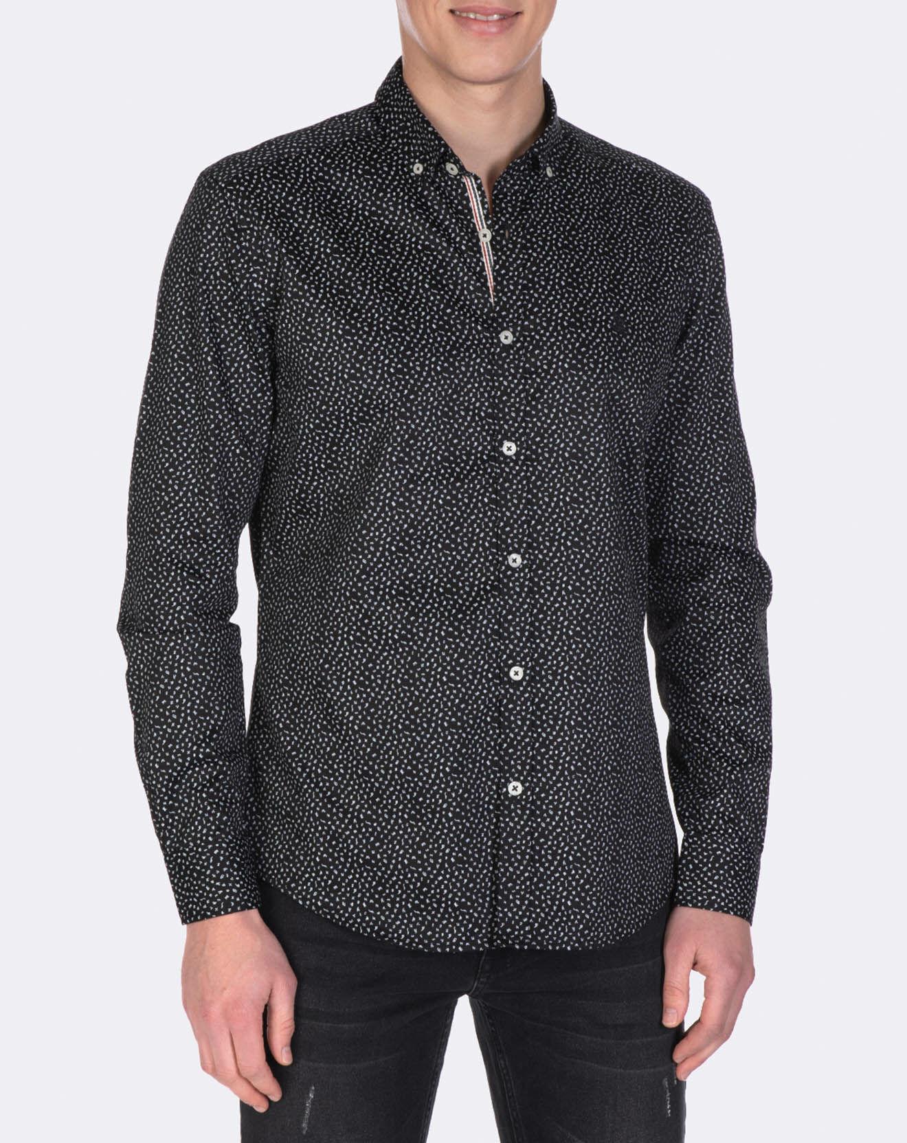 Chemise à petits imprimés noir/blanc