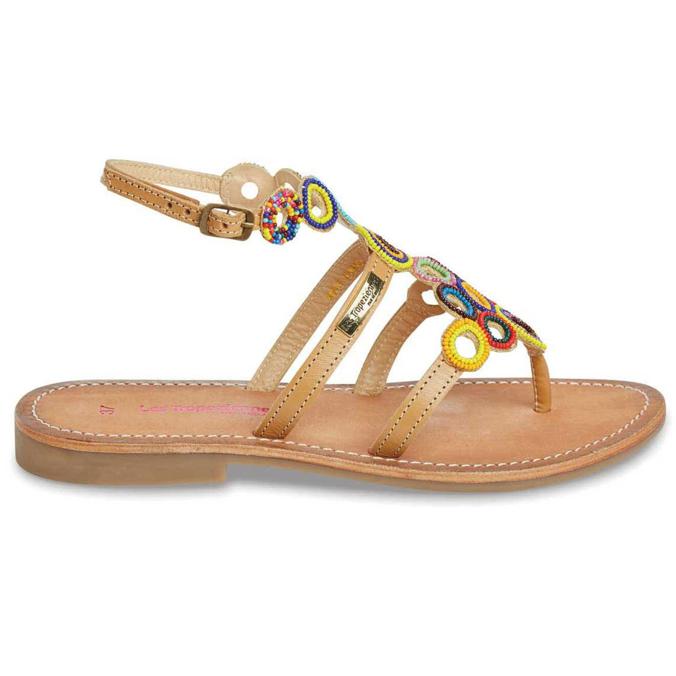 Sandales entre-doigts en Cuir Ofelie beige/multicolore - Les Tropeziennes - Modalova