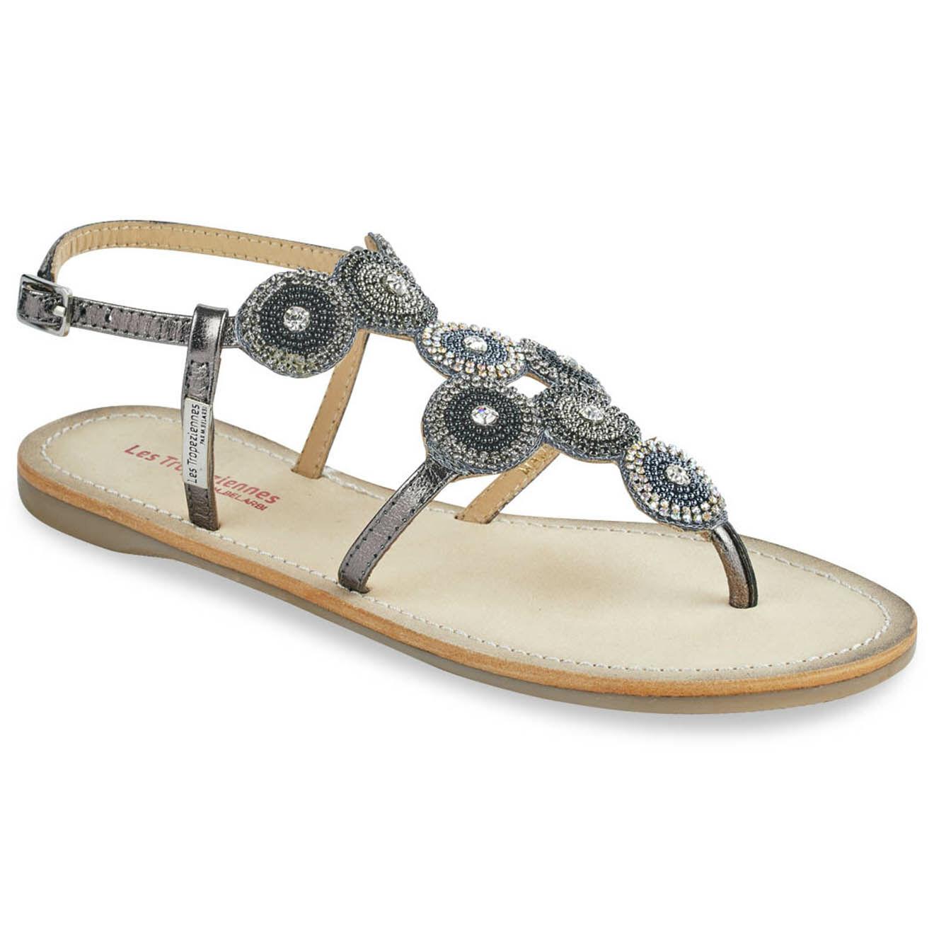 Sandales entre-doigts en Cuir Ochana argentées - Les Tropeziennes - Modalova