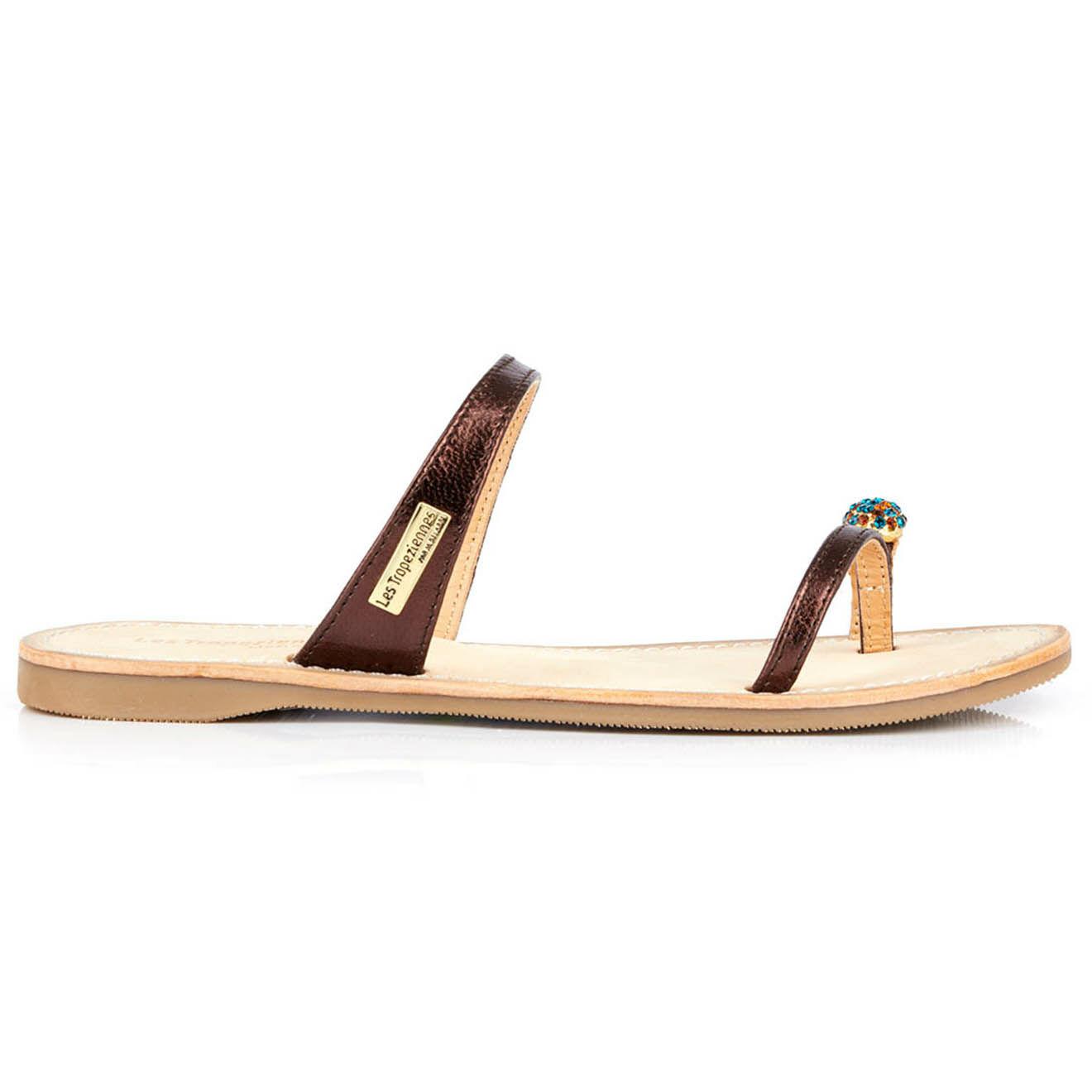 Sandales entre-doigts en Cuir Olwen bronze - Les Tropeziennes - Modalova