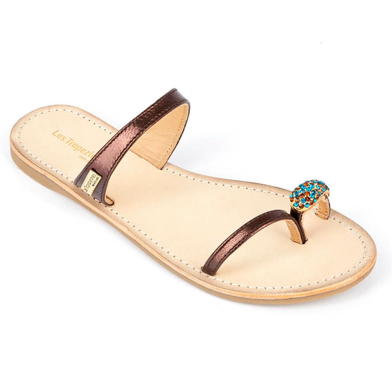 Sandales entre-doigts en Cuir Olwen - Les Tropeziennes - Modalova