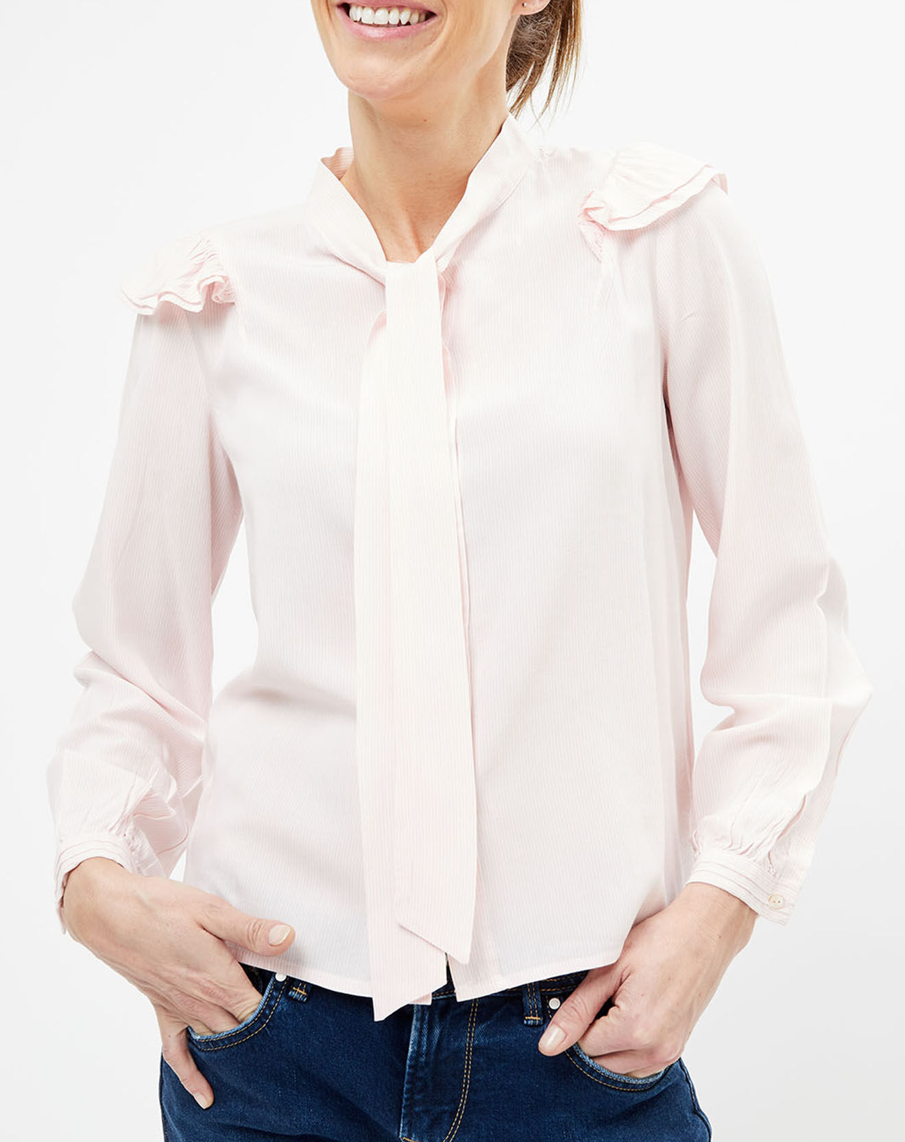 Chemise à volants rayée rose - Pepe Jeans - Modalova
