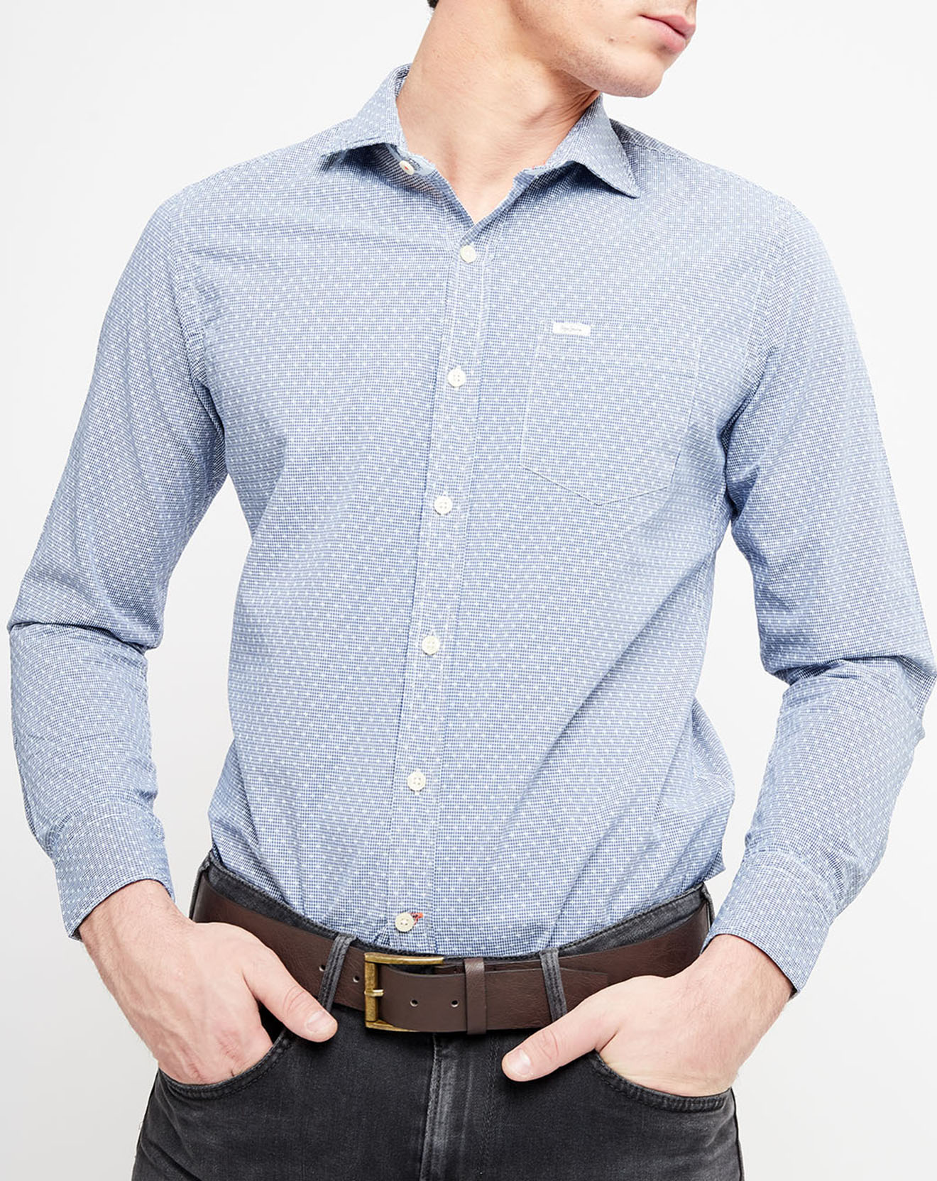 Chemise droite Monclova imprimée bleue - Pepe Jeans - Modalova