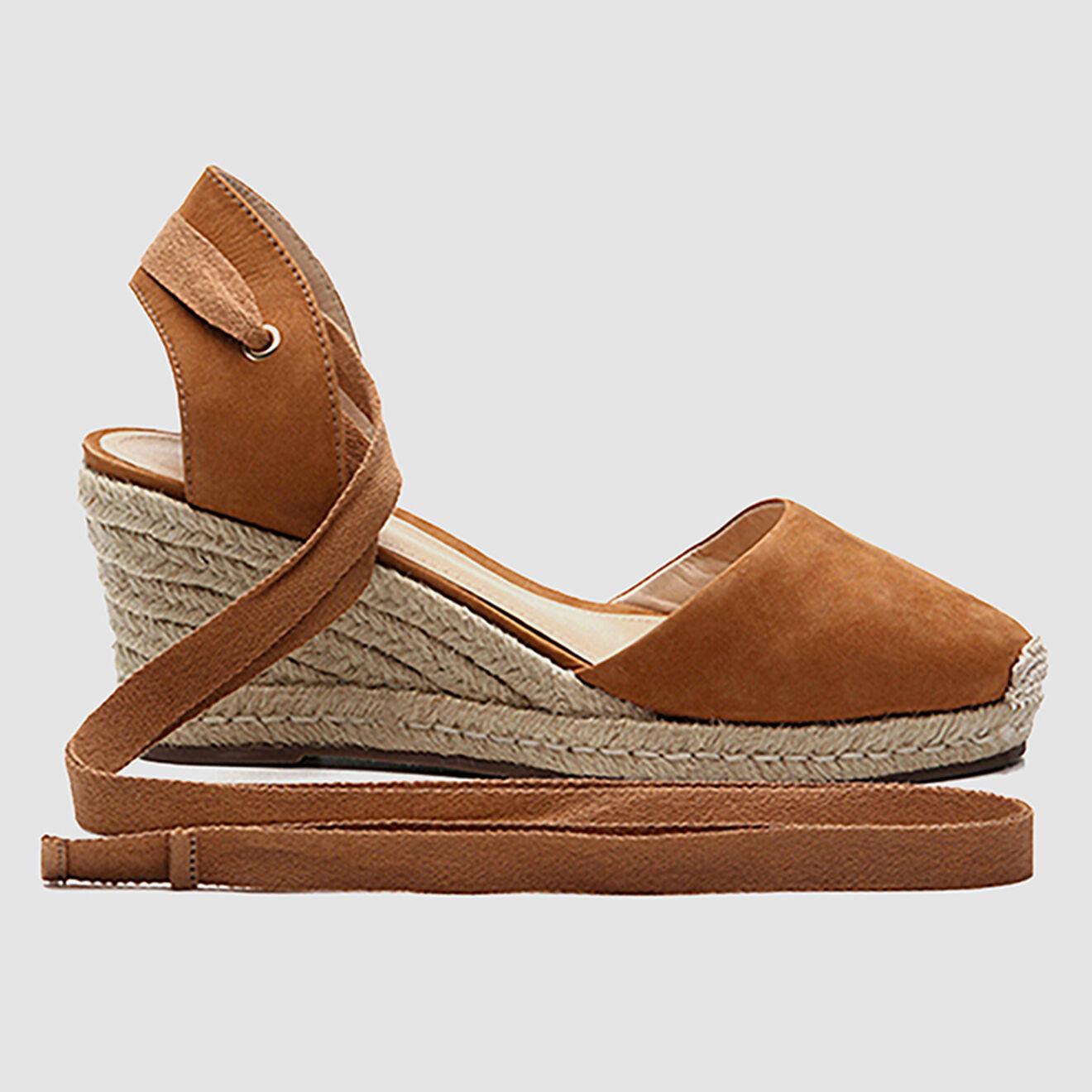 Sandales compensées en Velours de Cuir Alesa cognac - Talon 6 cm - Cosmoparis - Modalova