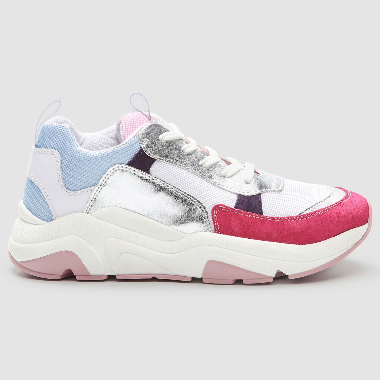 Sneakers en Cuir & Textile Beloa blanc/rose/bleu - Cosmoparis - Modalova