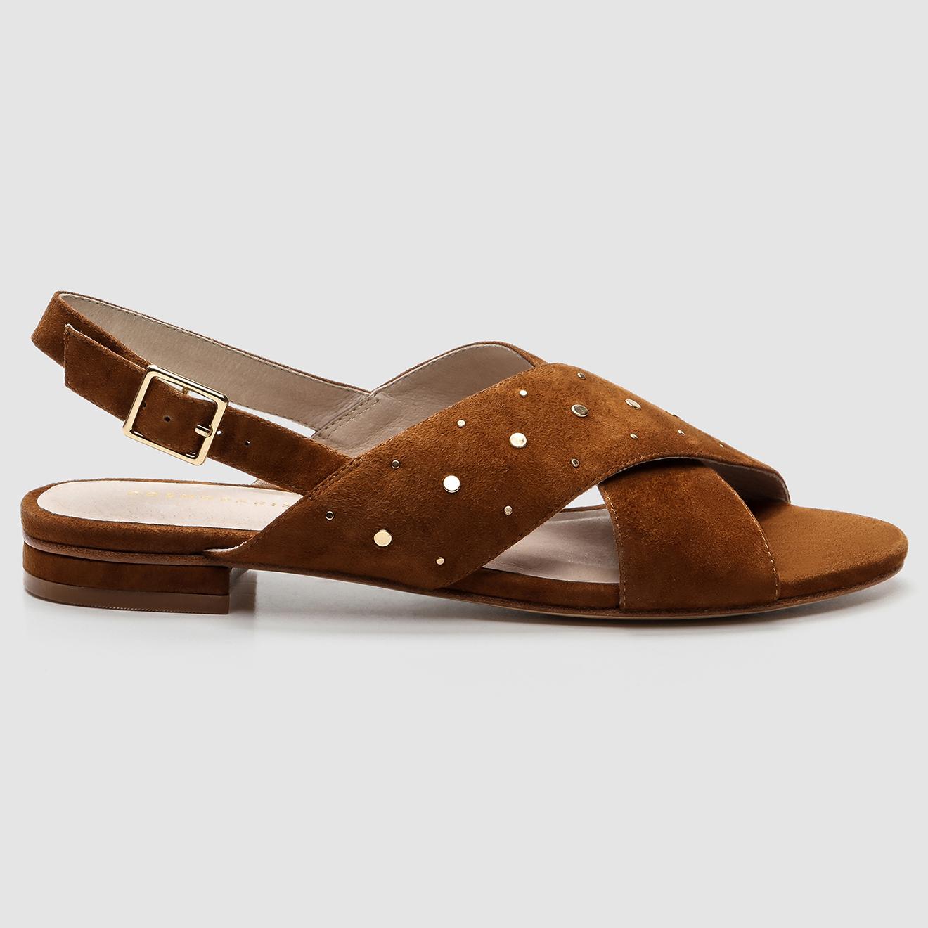 Sandales en Velours de Cuir Houdi cognac - Cosmoparis - Modalova