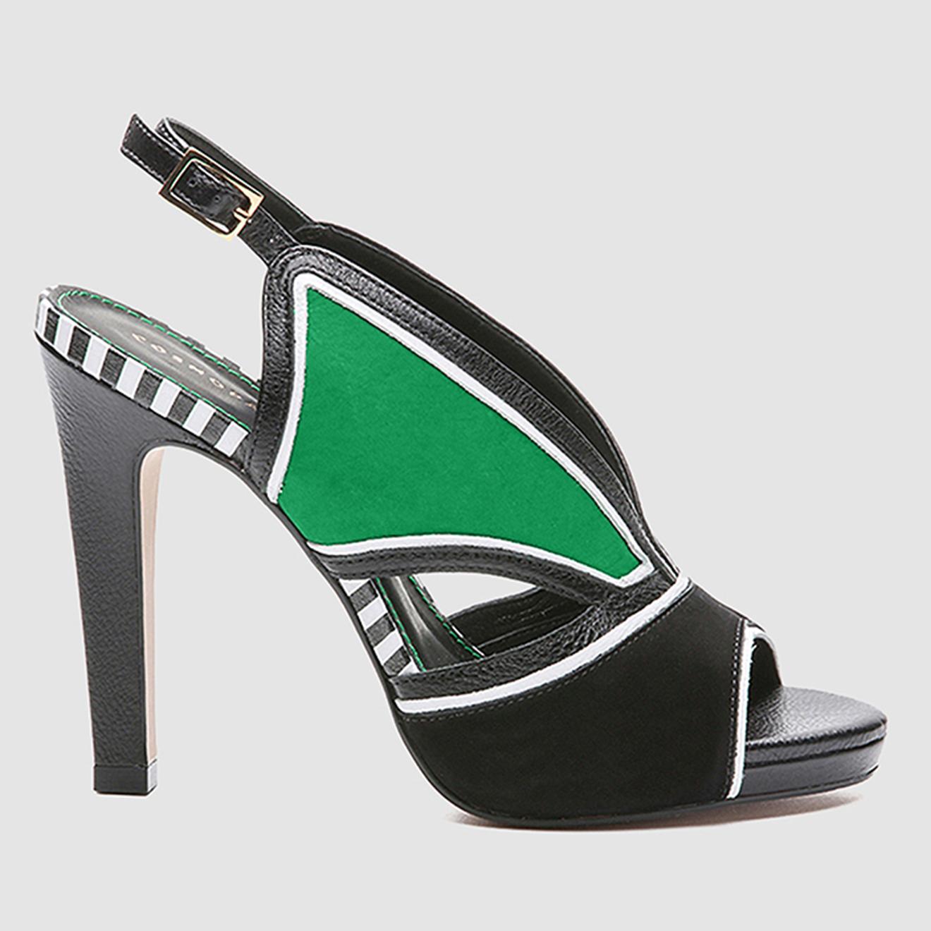 Sandales en Cuir et Velours de Cuir Lini noir/vert - Talon 11 cm - Cosmoparis - Modalova