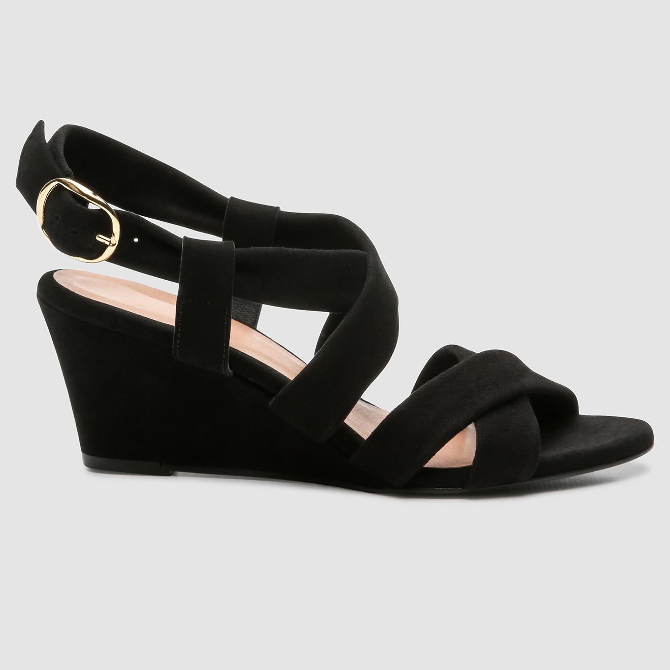 Sandales compensées en Velours de Cuir Valiya noires - Talon 6 cm - Cosmoparis - Modalova