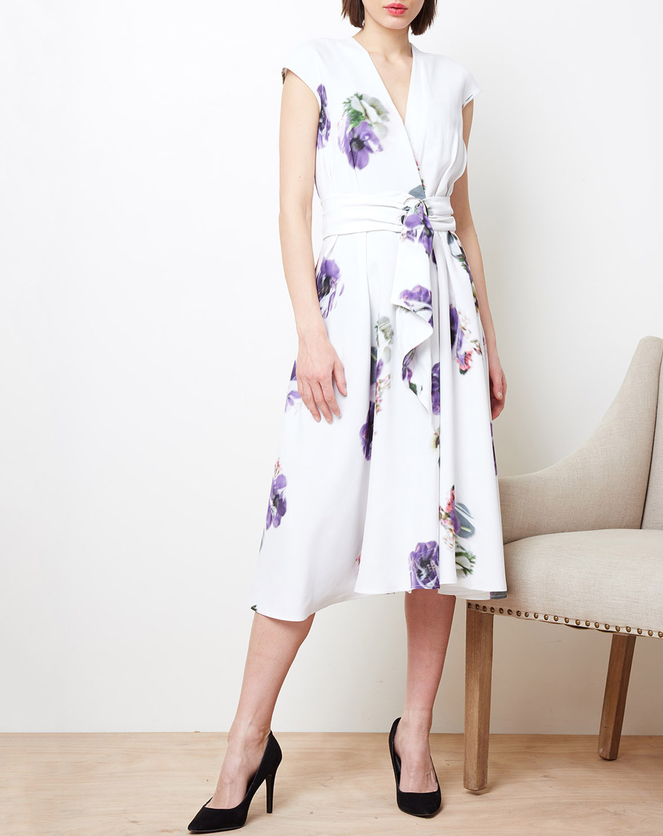 Robe portefeuille imprimée floral blanc/violet - Cacharel - Modalova