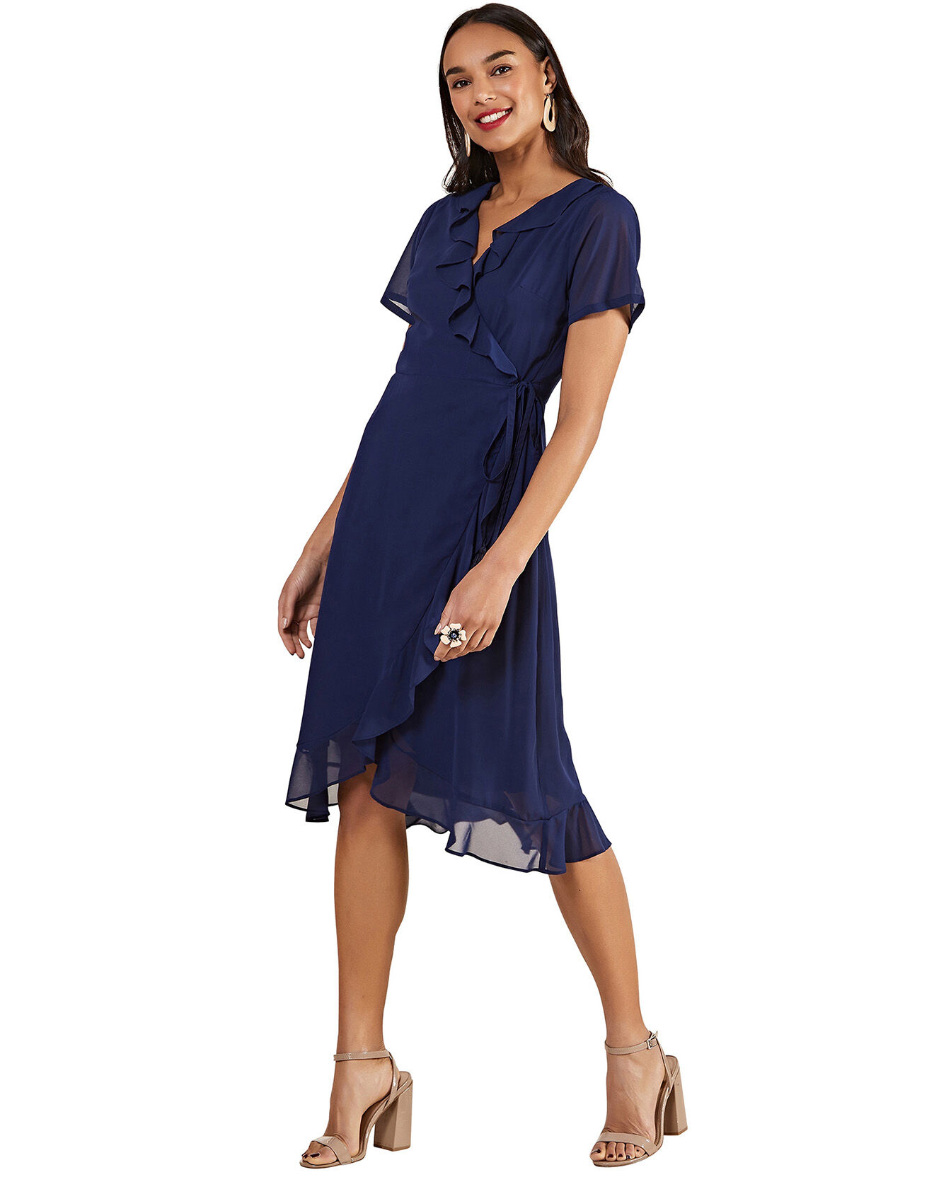 Robe fluide façon kimono unie bleu marine - Yumi - Modalova