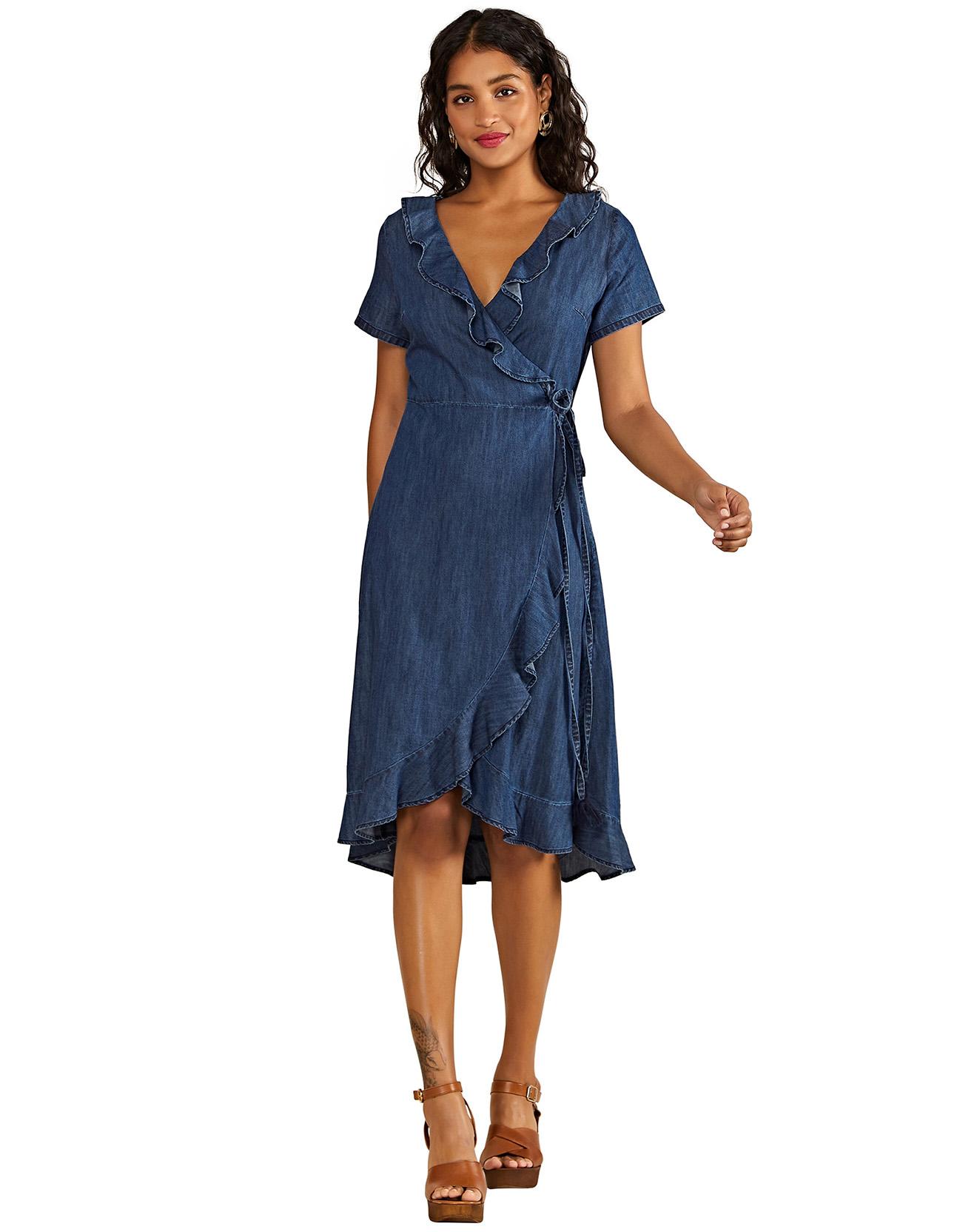 Robe en jean façon kimono unie bleue - Yumi - Modalova