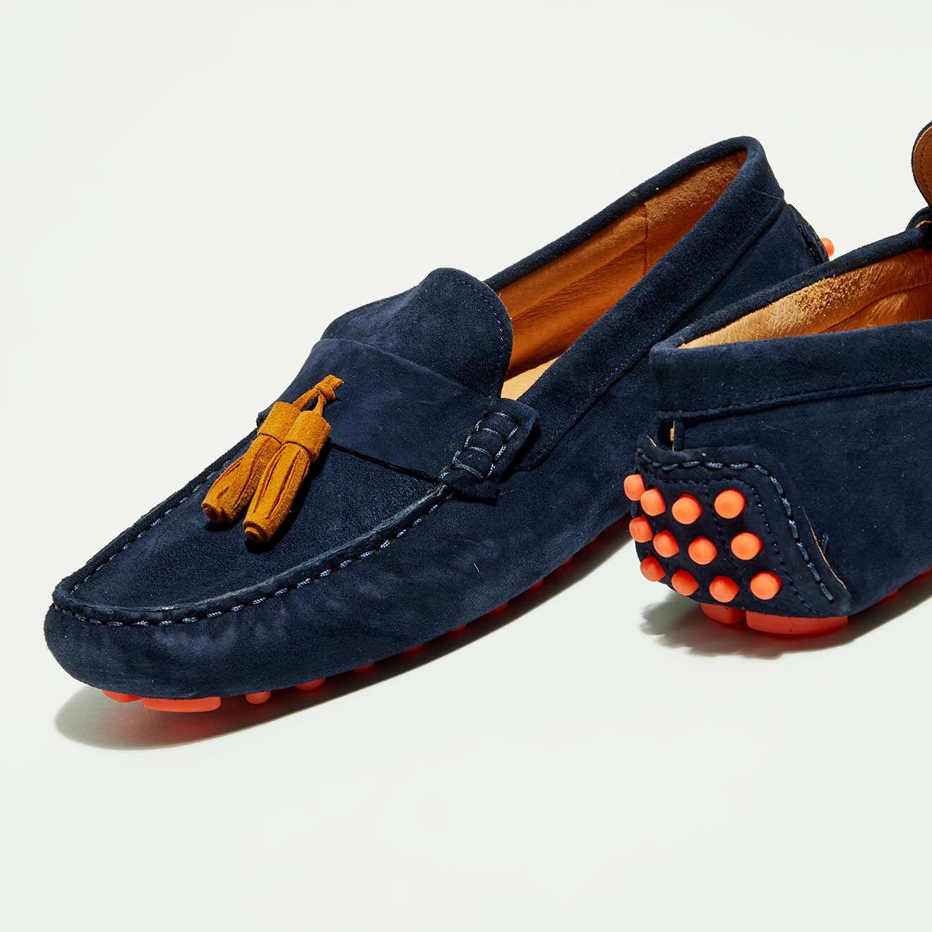Mocassins en Velours de Cuir Manu marine/orange - Flavio Création - Modalova