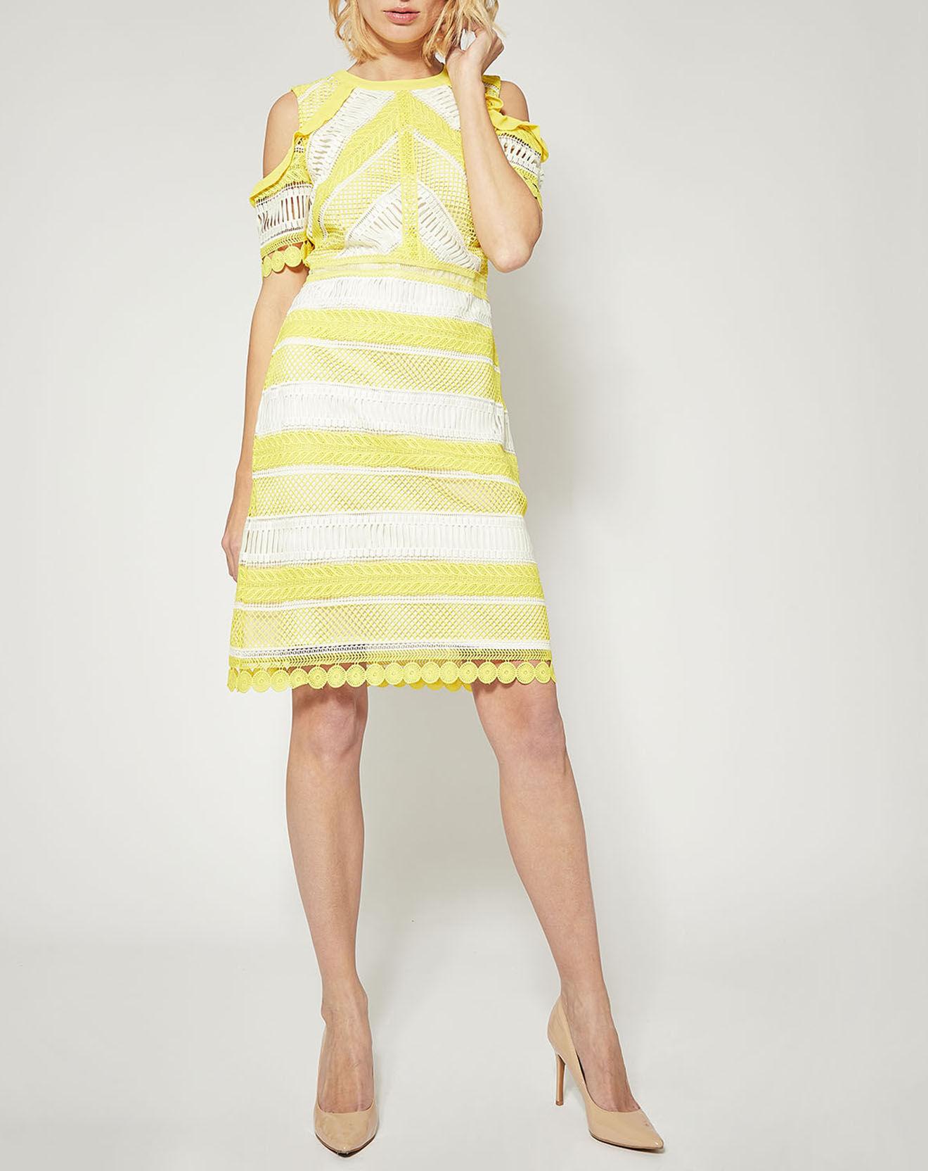 Robe Capitiene dentelle contrastante jaune safran - Derhy - Modalova