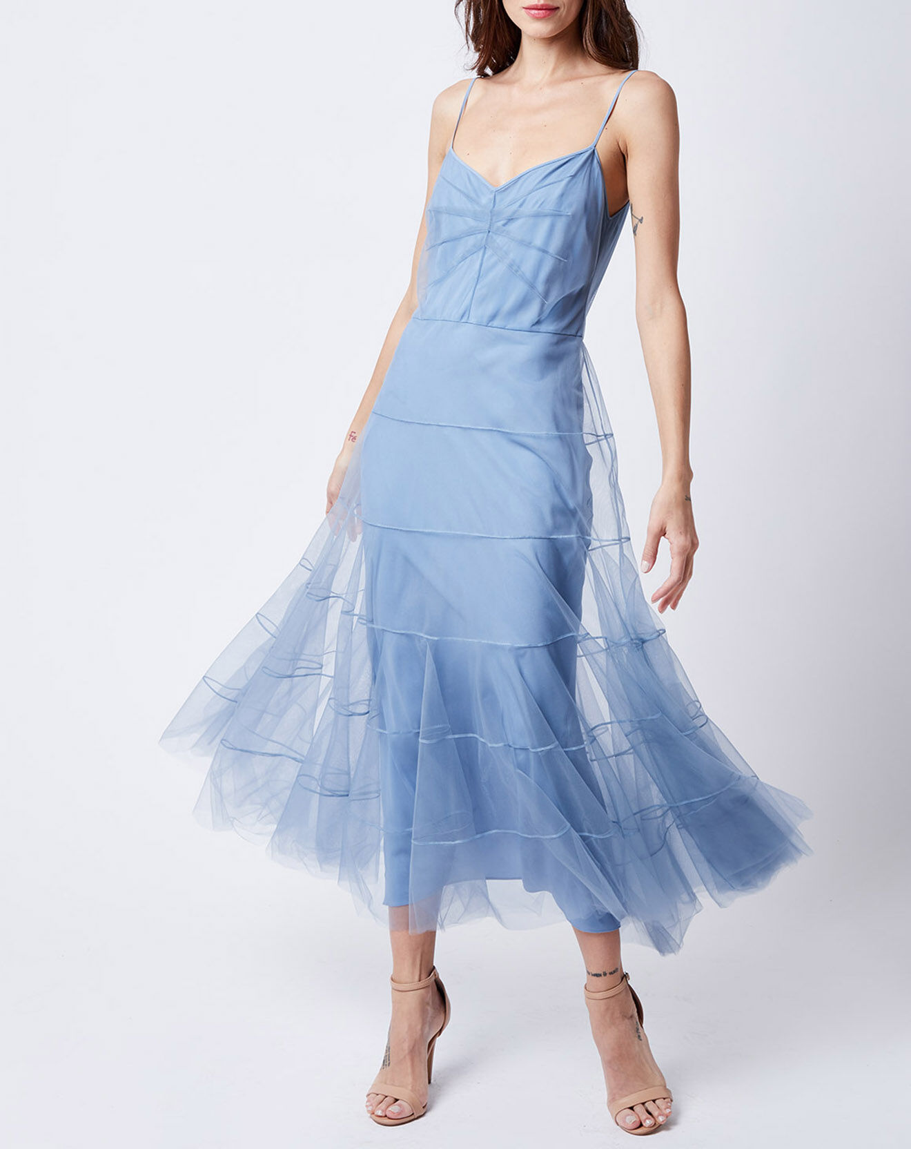Robe mi-longue en Tulle et doublure Soie mélangée bleue - John Galliano - Modalova