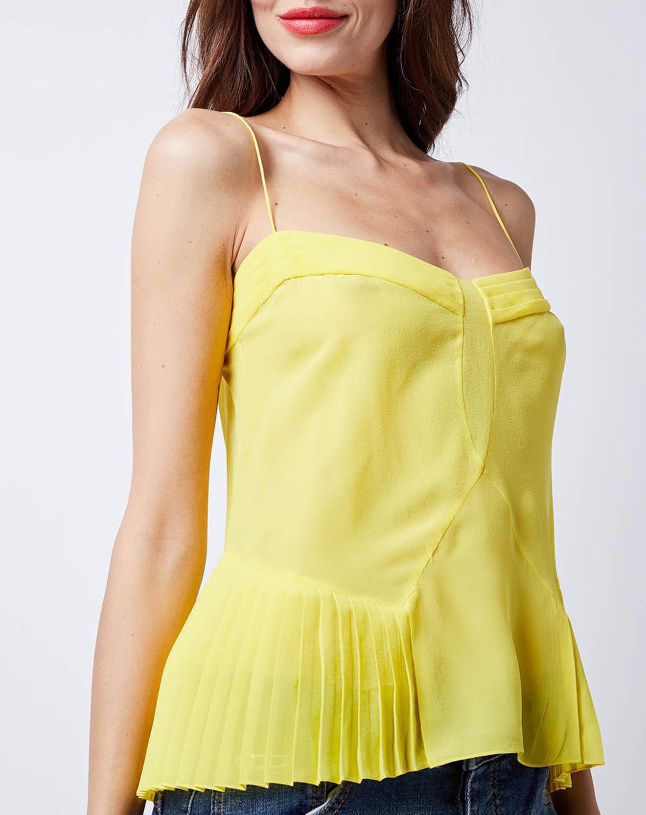 Débardeur 100% Soie à plis jaune - John Galliano - Modalova