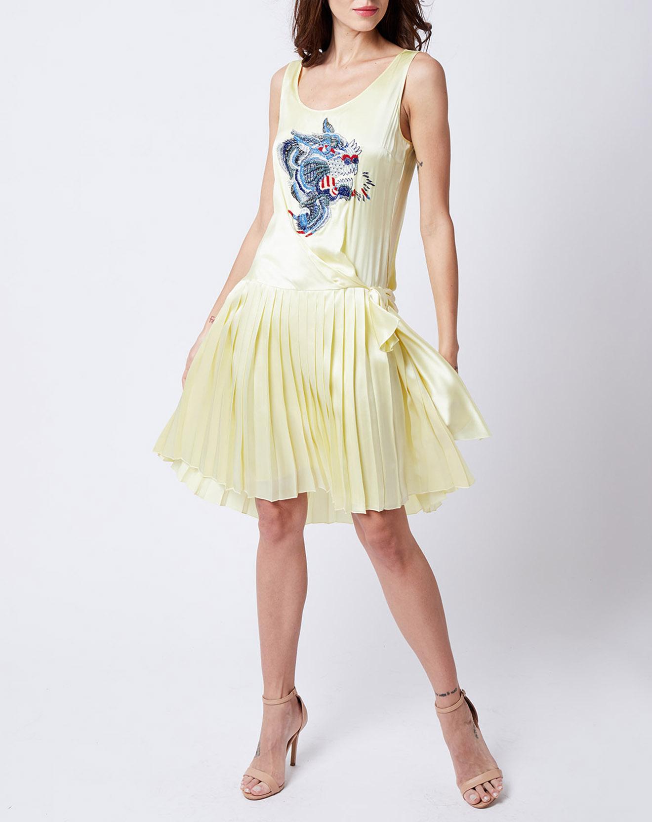Robe 100% Soie jupe plissée jaune - John Galliano - Modalova