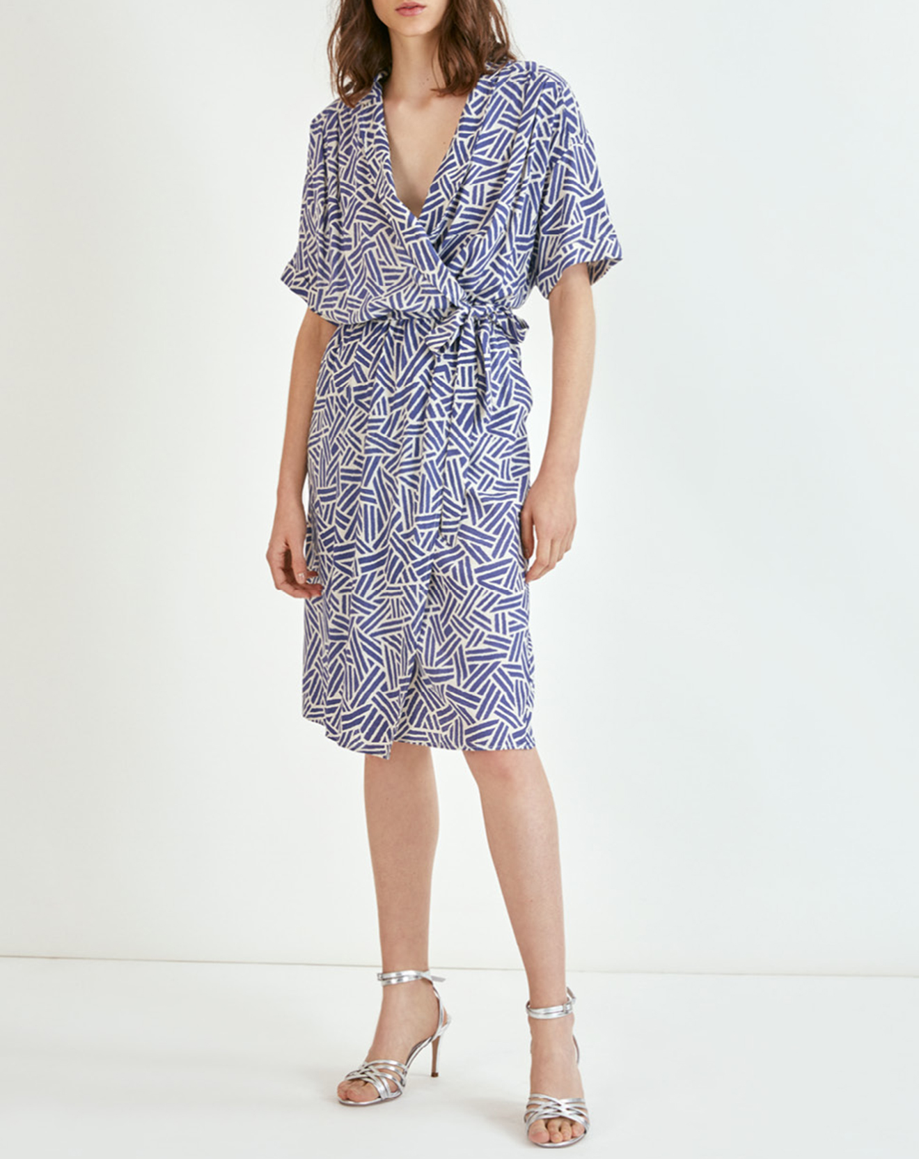 Robe en Lin mélangé Charly imprimée bleue - Suncoo - Modalova