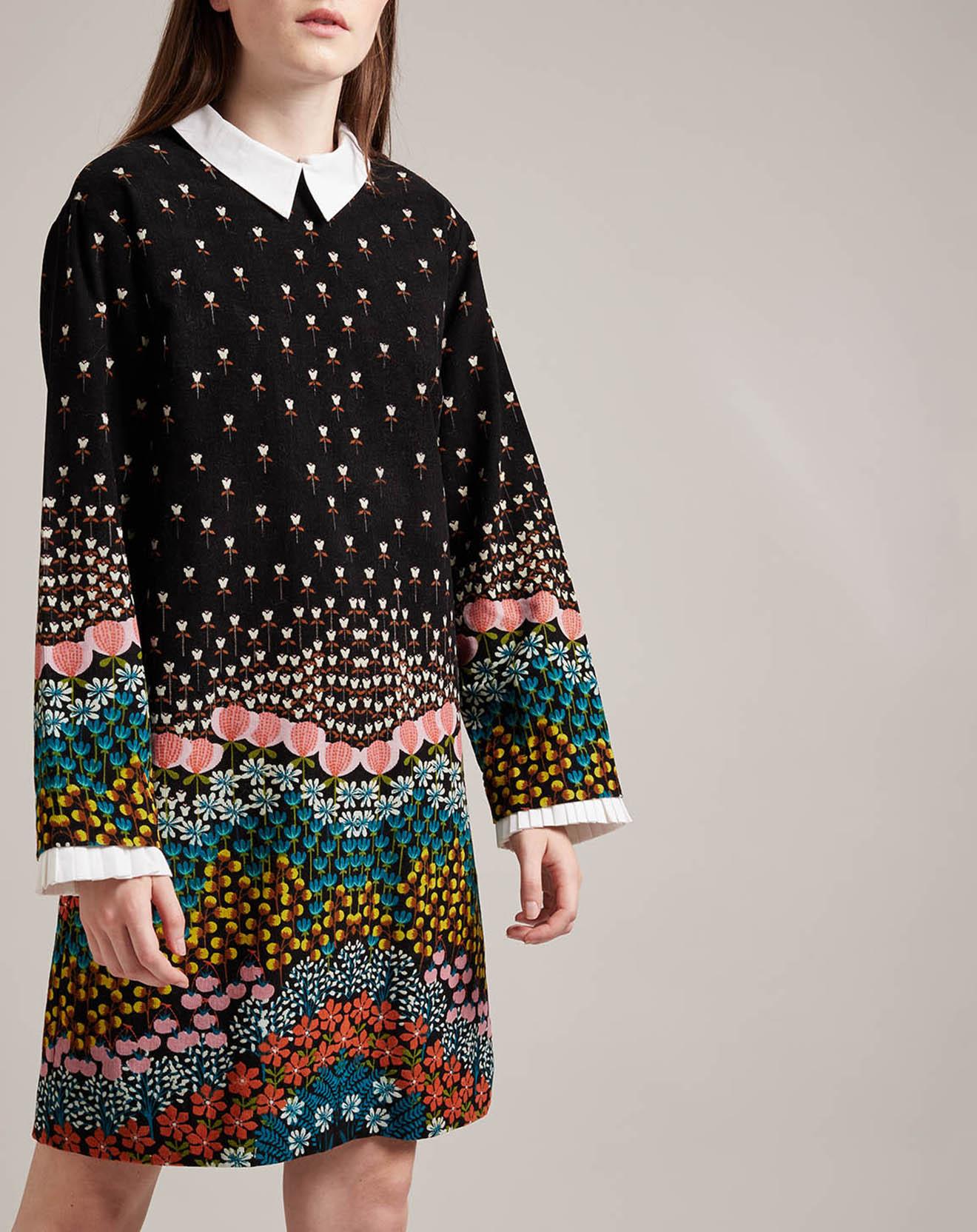 Robe courte Palmares col claudine imprimé fantaisie noire - Derhy - Modalova