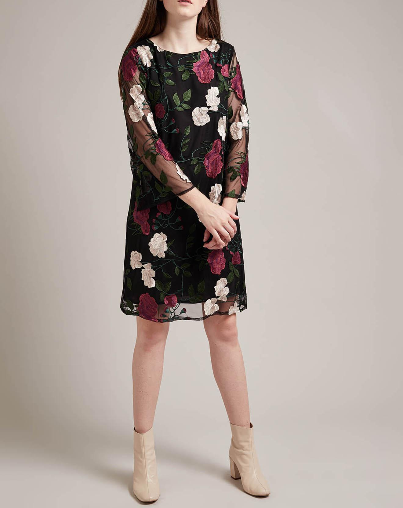Robe Dédicace courte imprimé fleurs brodées noire - Derhy - Modalova