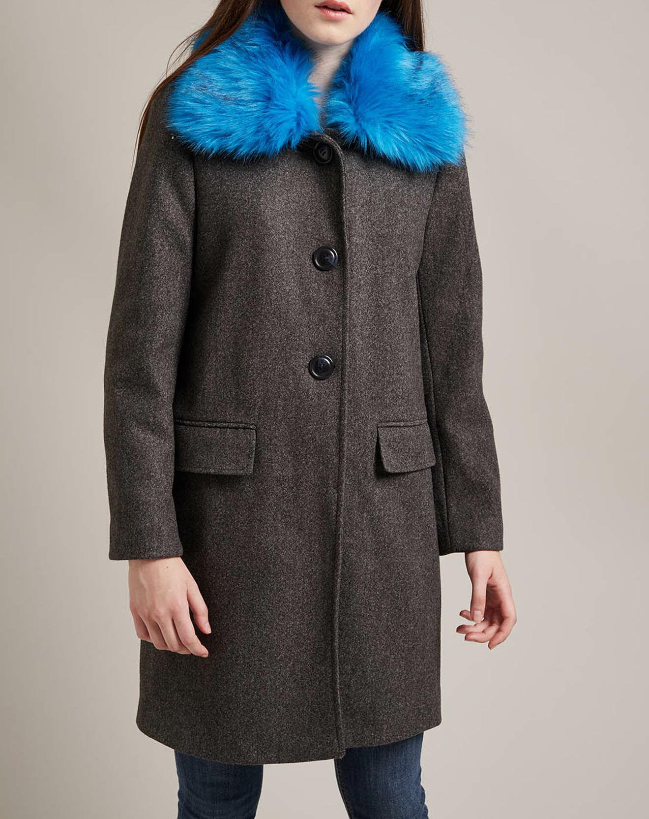 Manteau long Balzane col fantaisie contrastant - Derhy - Modalova
