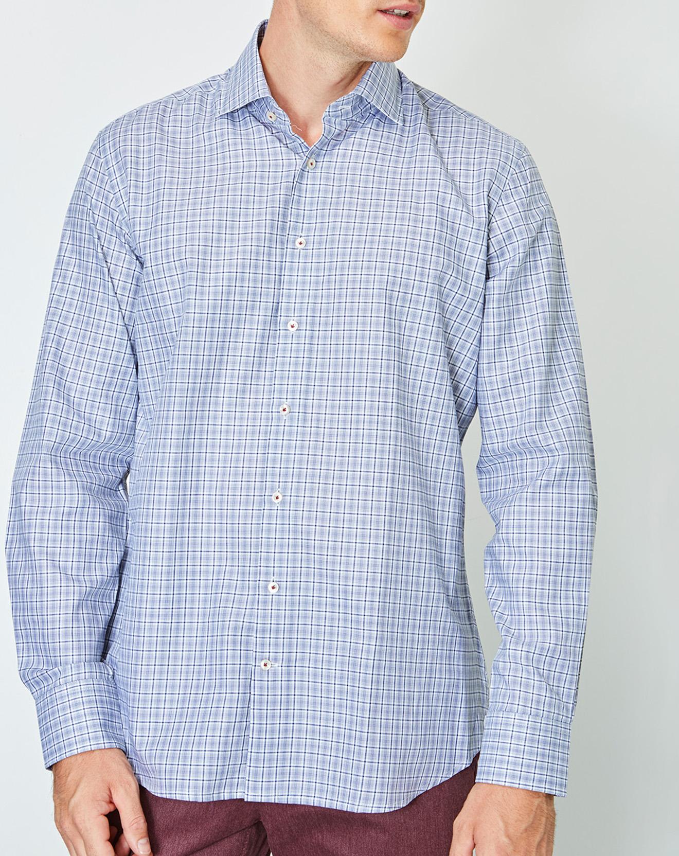 Chemise slim fit à carreaux bleue - Hackett London - Modalova