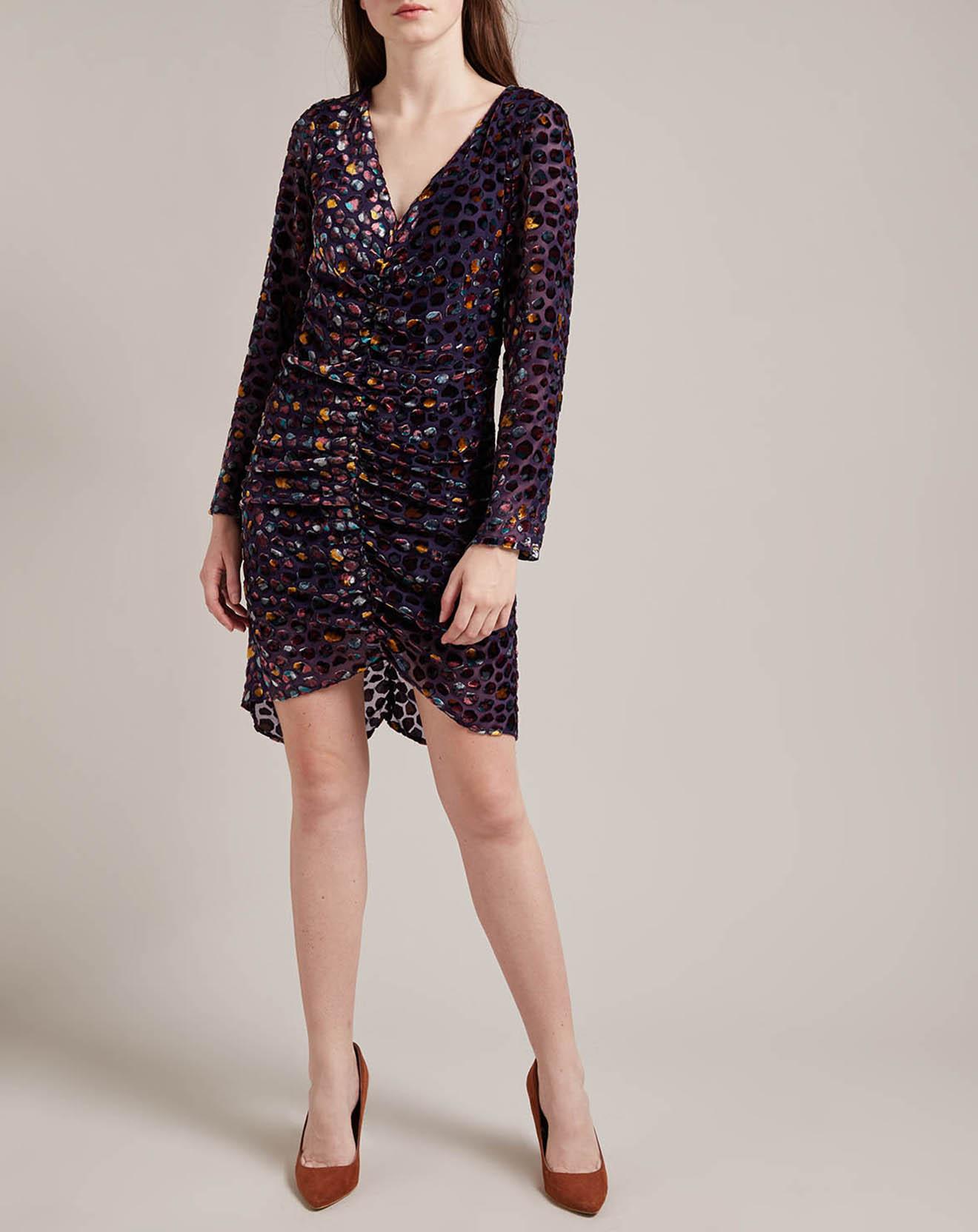 Robe Delicate en velours violette - Derhy - Modalova