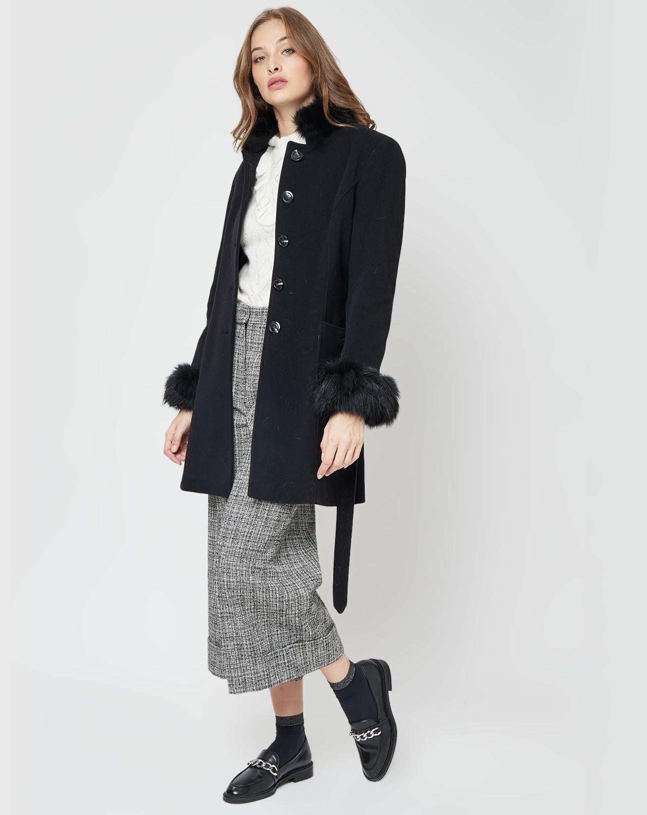 Manteau Betty en Laine mélangée bords Renard noir - Baya - Modalova