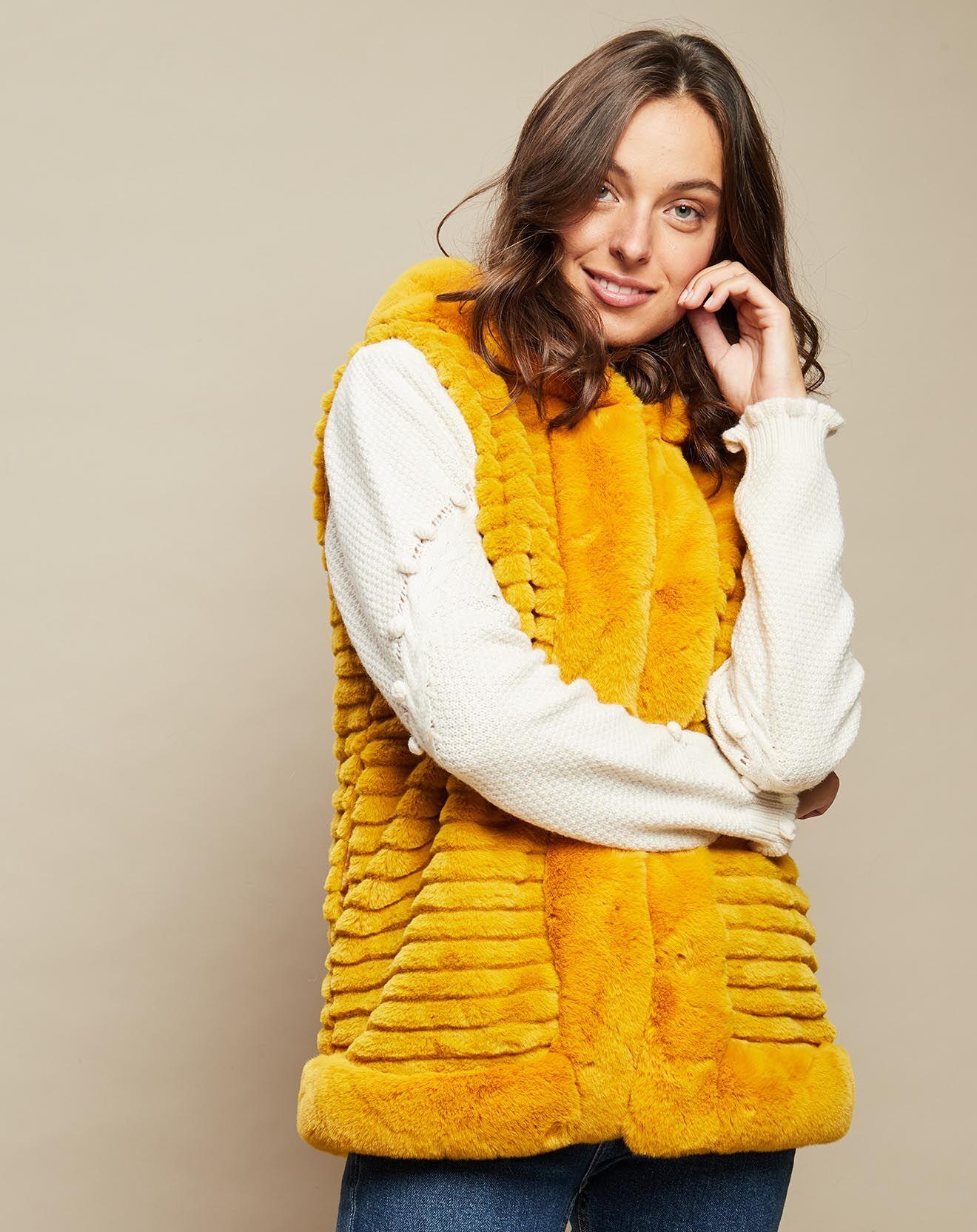 Gilet à capuche en Fausse Fourrure jaune - Inka - Modalova
