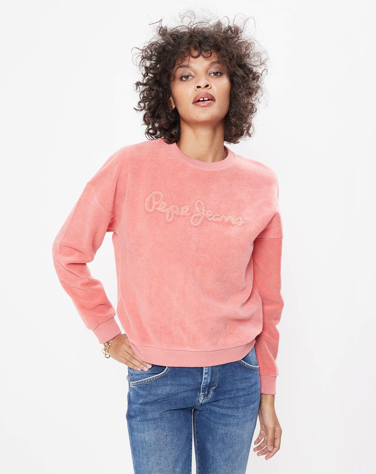 Sweat Polaire Logo ton sur ton rose - Pepe Jeans - Modalova