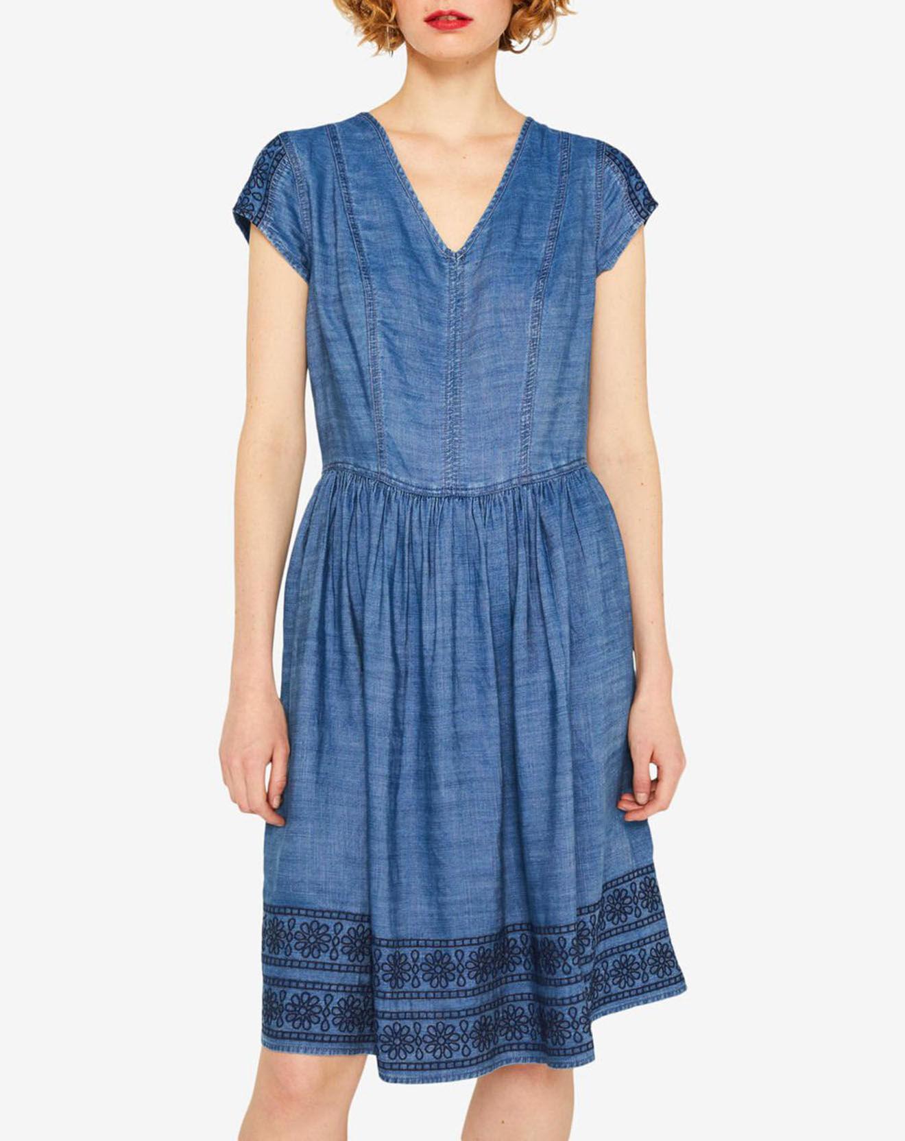 Robe en jean Broderies bleue - Esprit - Modalova
