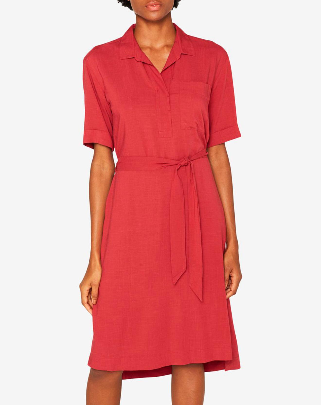 Robe Midi en Lin mélangé rouge - Esprit - Modalova