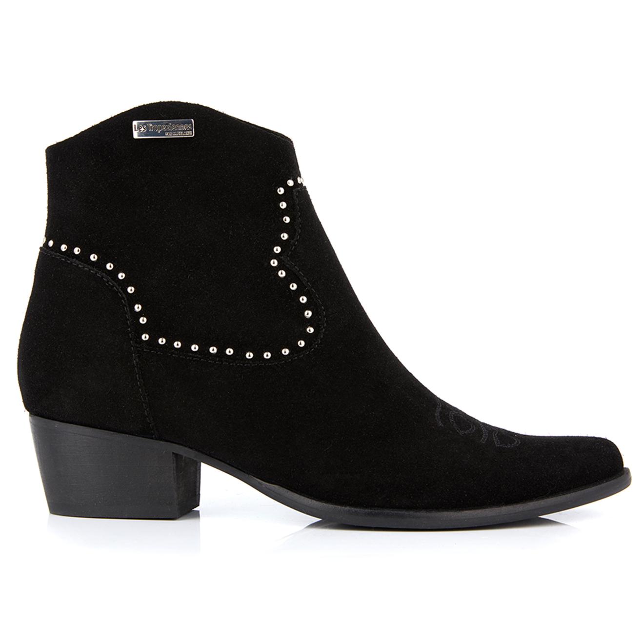 Boots Santiags en Velours de Cuir Astrid noires - Les Tropeziennes - Modalova