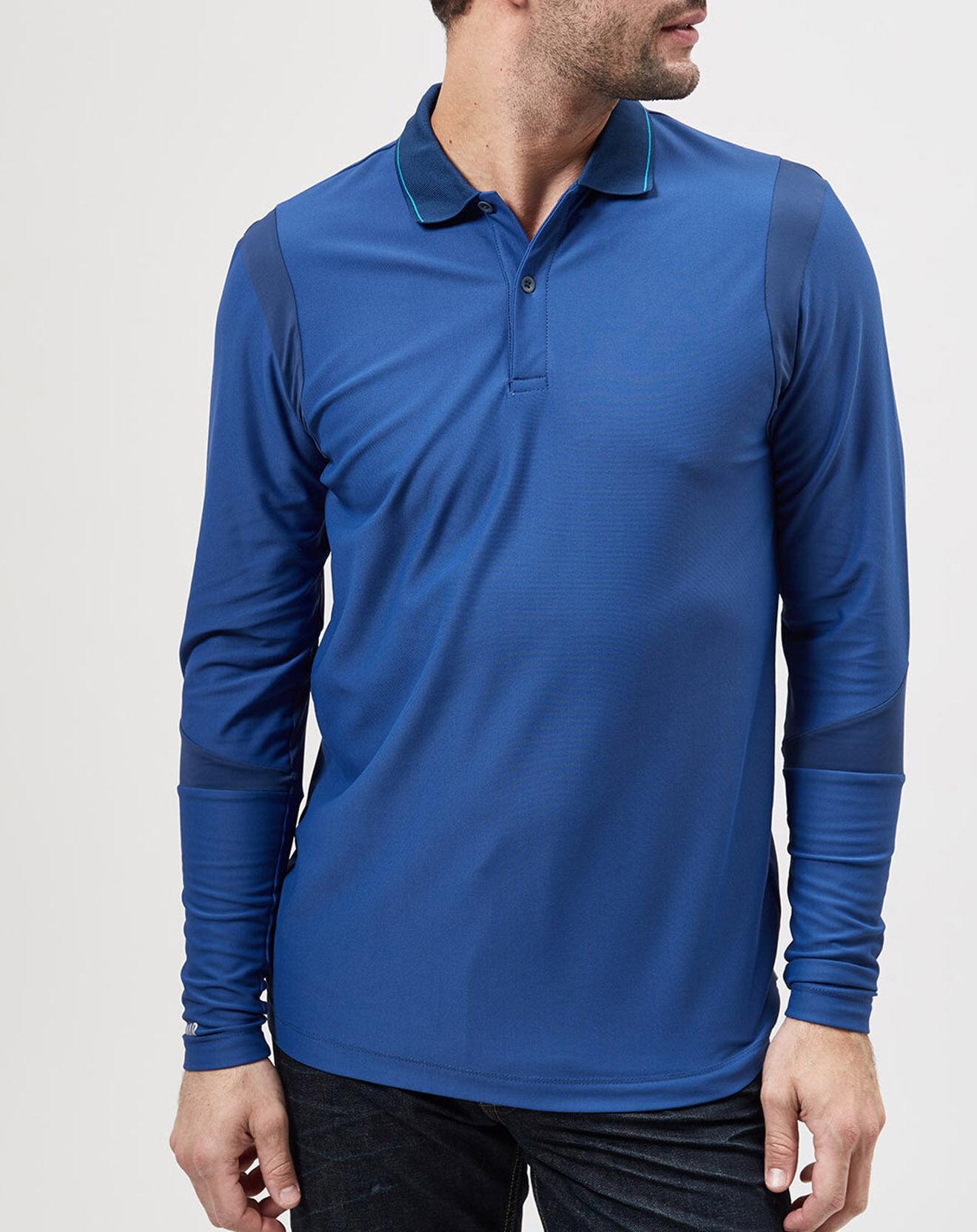 Polo Stretch bi-matière bleu - Colmar - Modalova