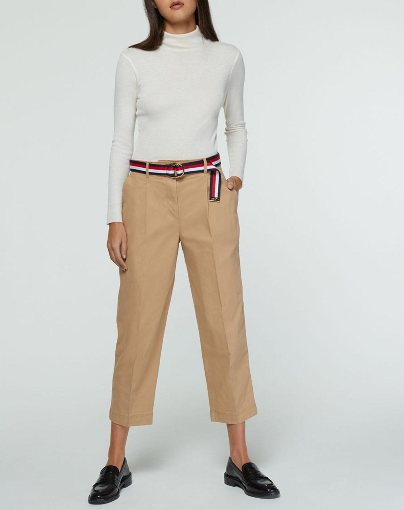 Pantalon chino droit beige - Tommy Hilfiger - Modalova